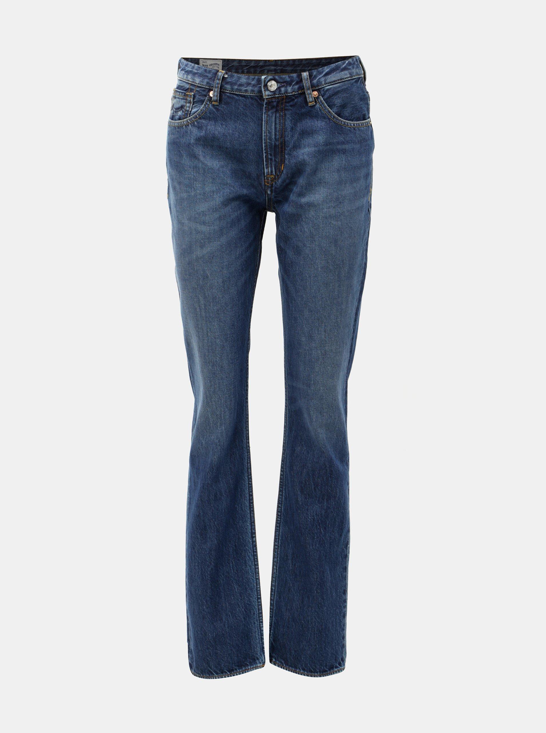 85b4c669a77 Modré dámské straight džíny s vysokým pasem Kings of Indigo Kimberley