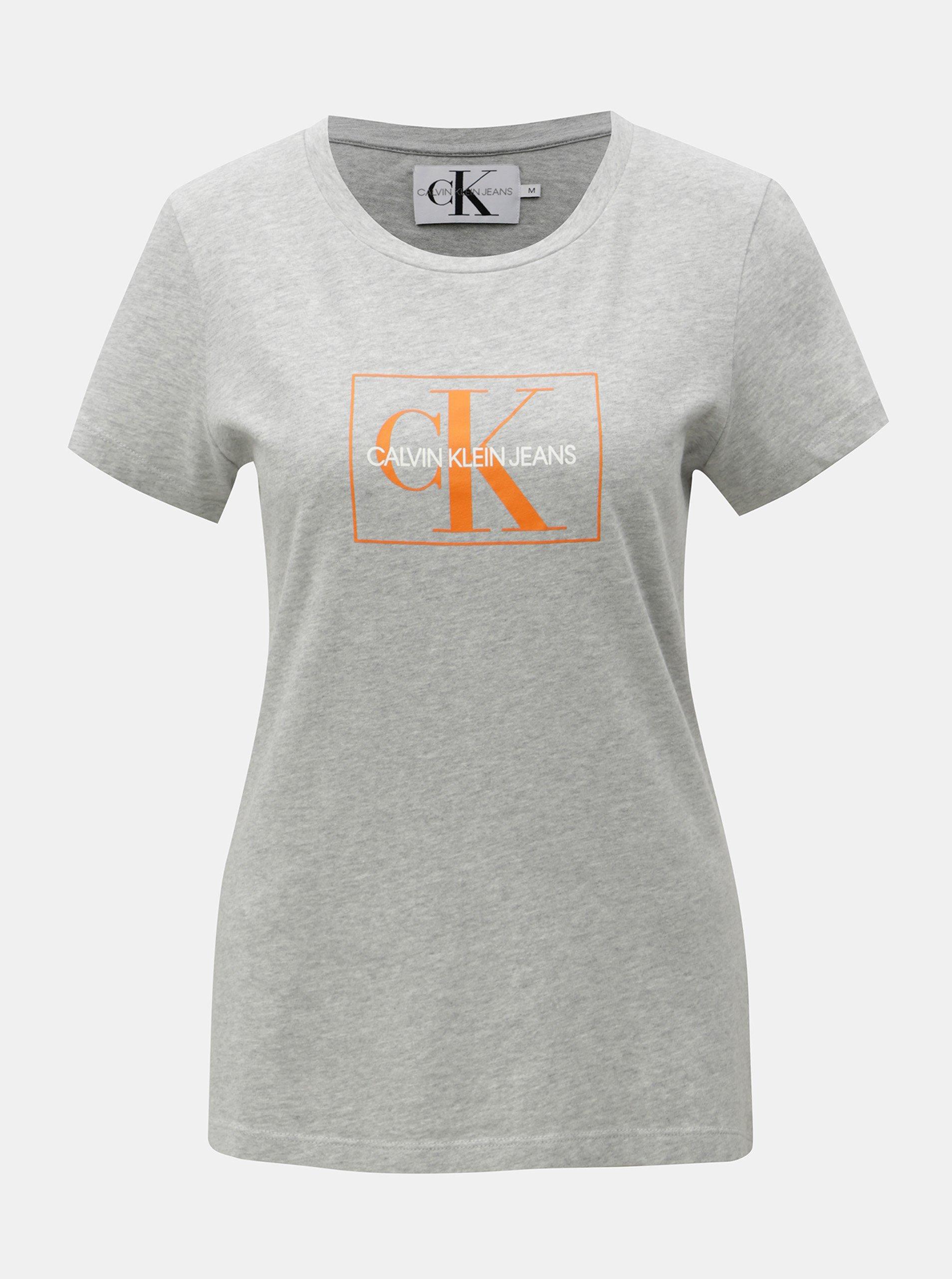 89e92b6c63f Šedé dámské žíhané tričko s potiskem Calvin Klein Jeans