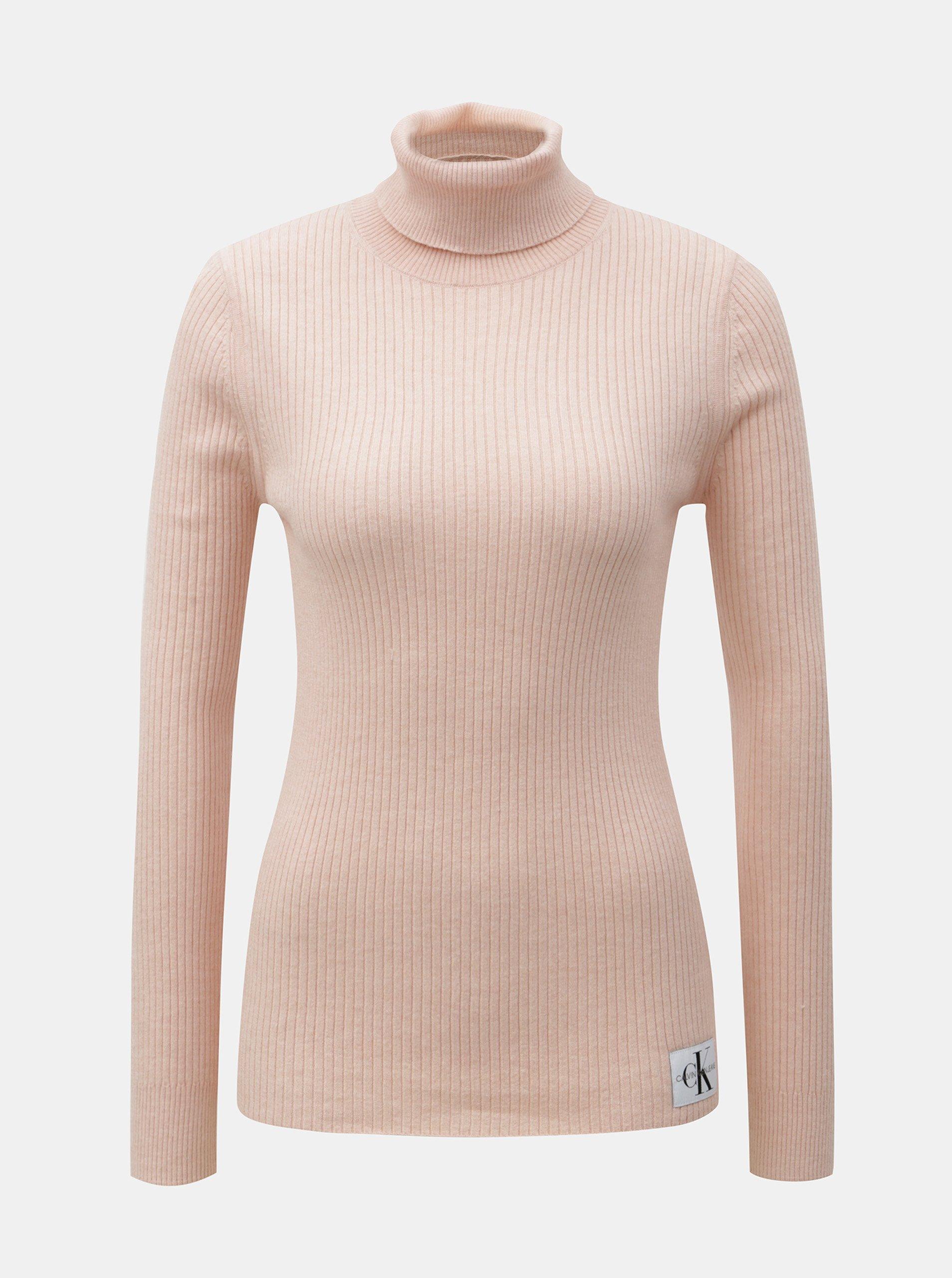 Fotografie Růžový dámský svetr s rolákem a nášivkou a příměsí vlny Calvin Klein Jeans