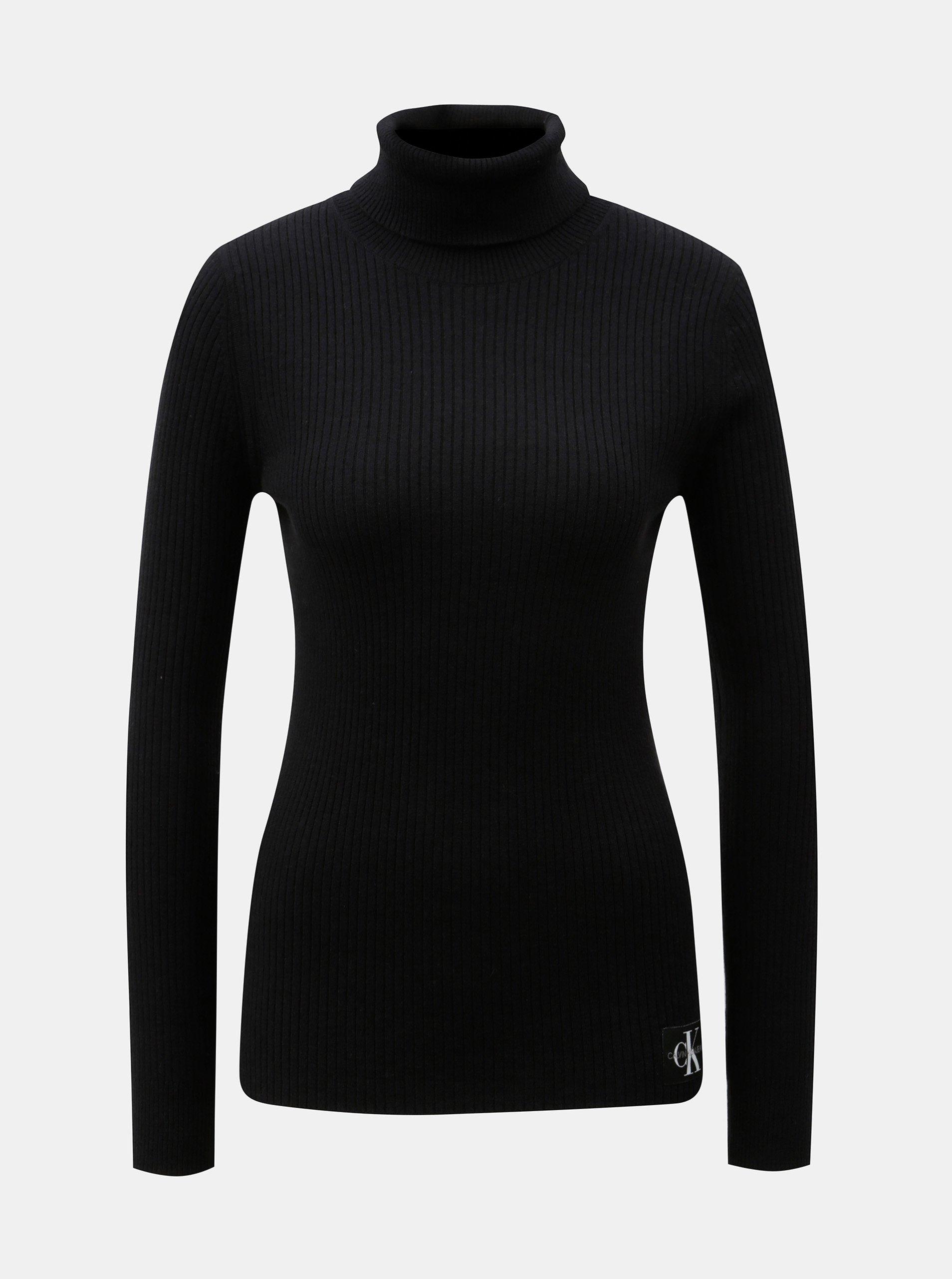 Černý dámský rolák s nášivkou a příměsí vlny Calvin Klein Jeans