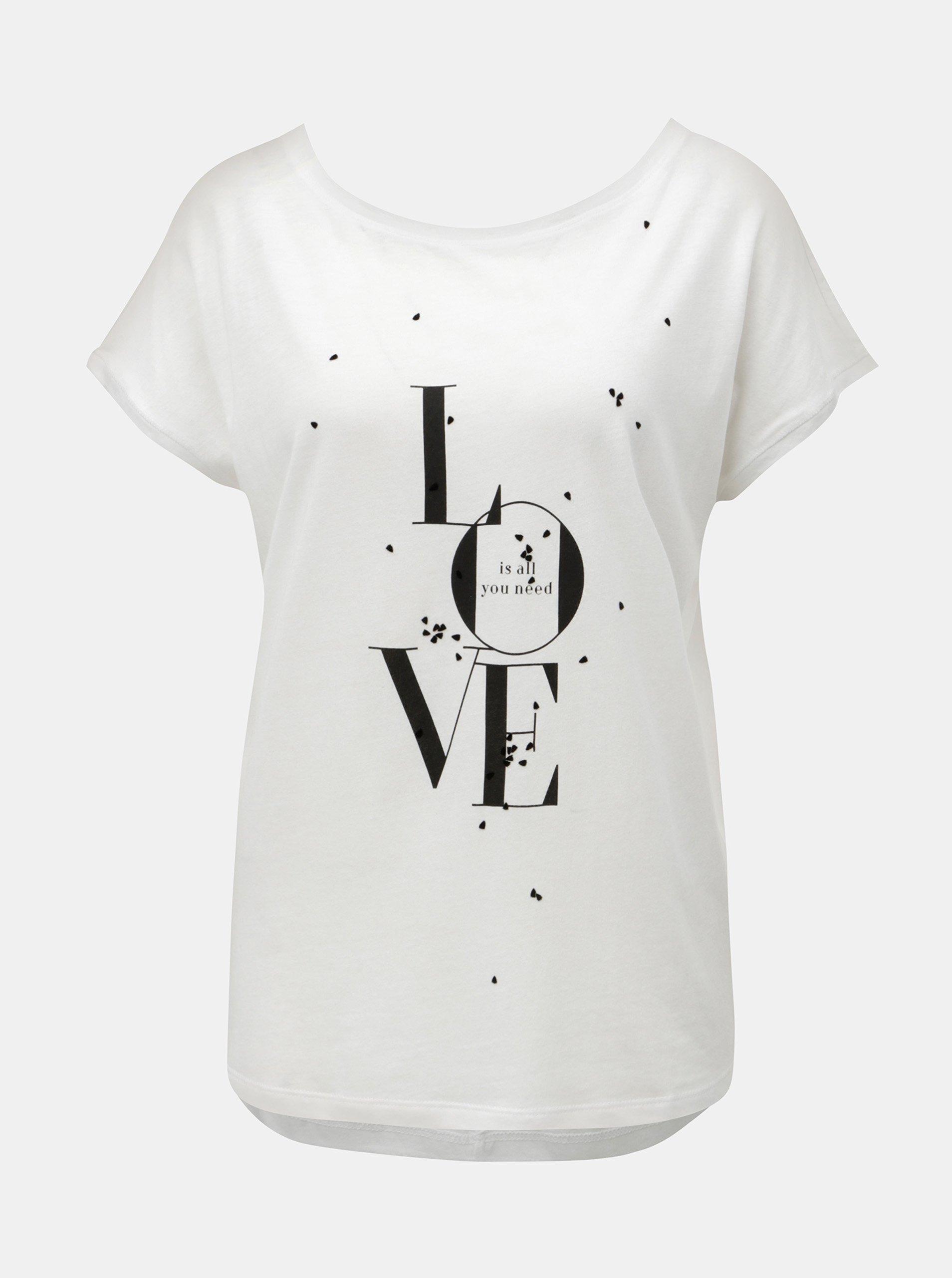 5be51c55f26 Biele dámske voľné tričko s potlačou s.Oliver