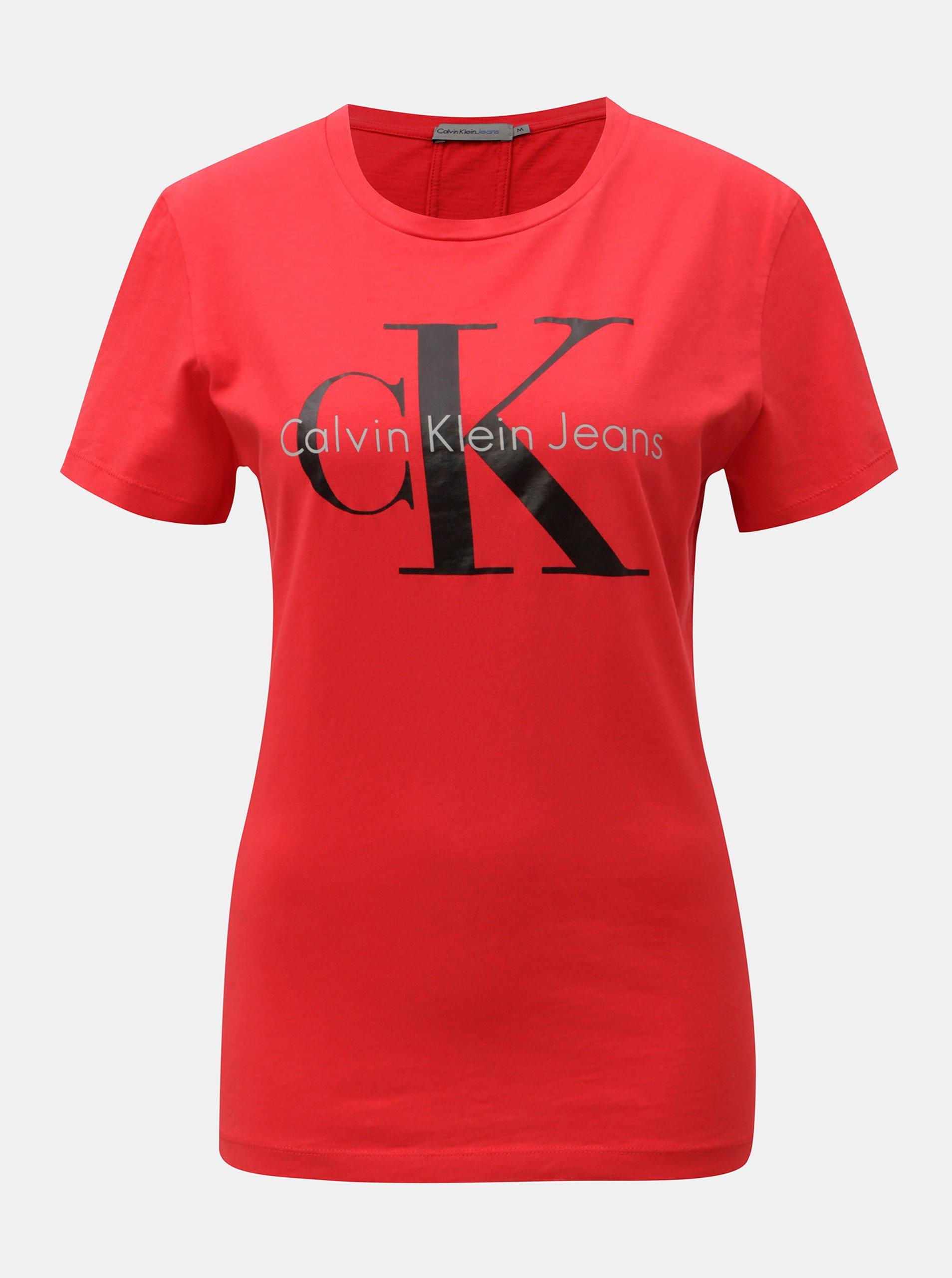 Fotografie Červené dámské tričko s potiskem Calvin Klein Jeans