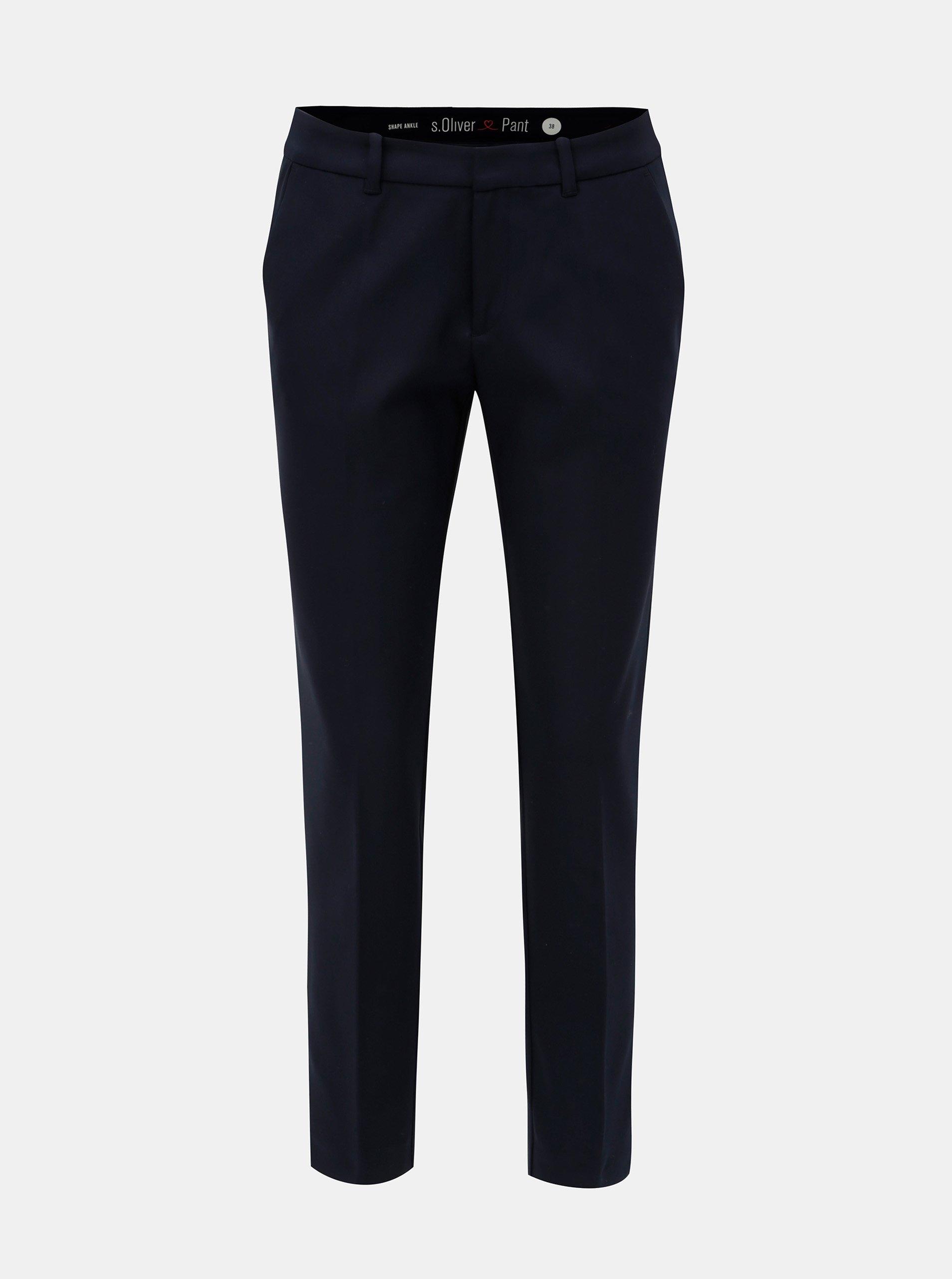 a01a9c742002 Tmavomodré dámske skrátené nohavice s nízkym sedom s.Oliver