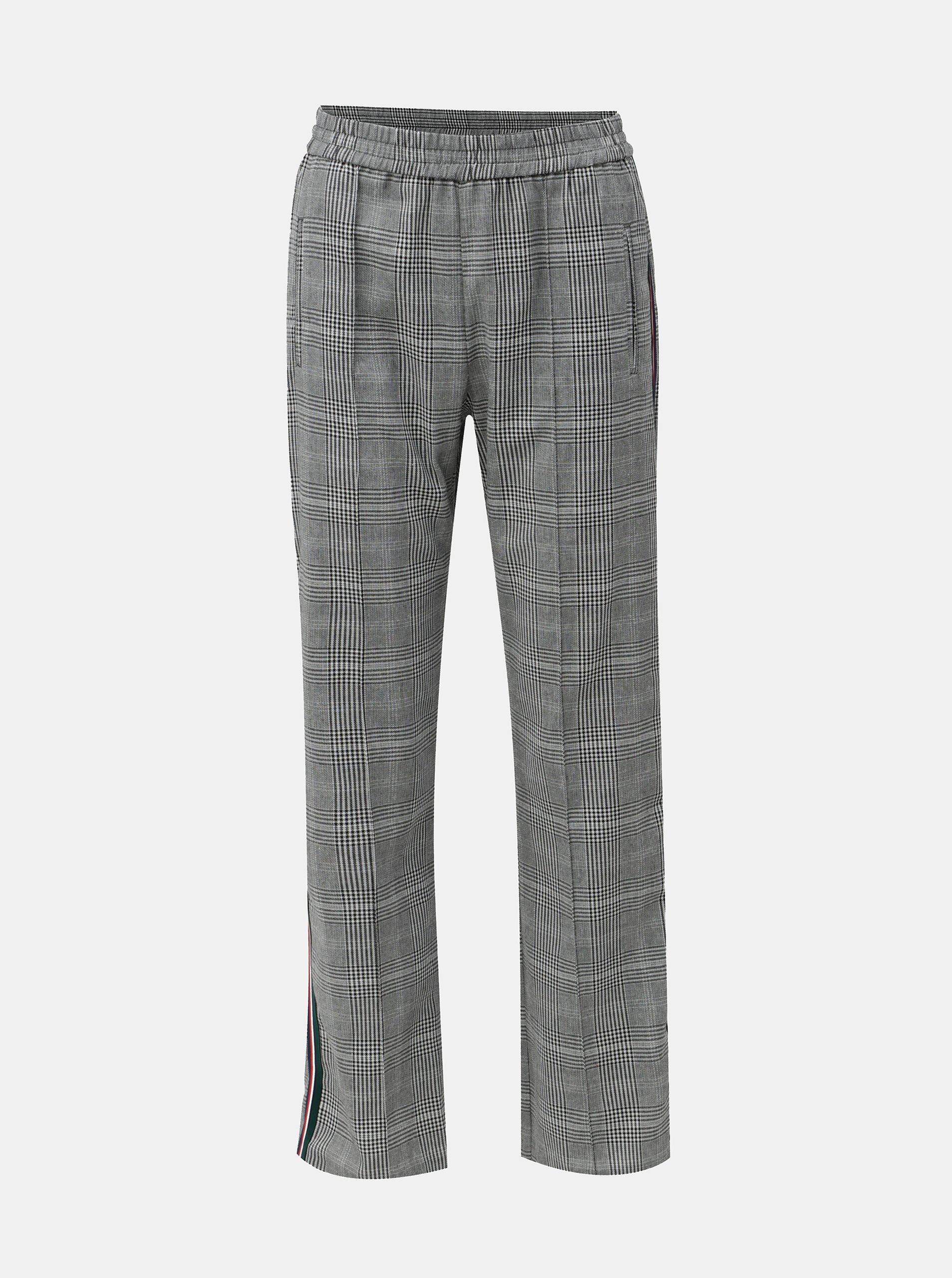 db87768efec Černo-bílé kostkované kalhoty s bočními pruhy Miss Selfridge