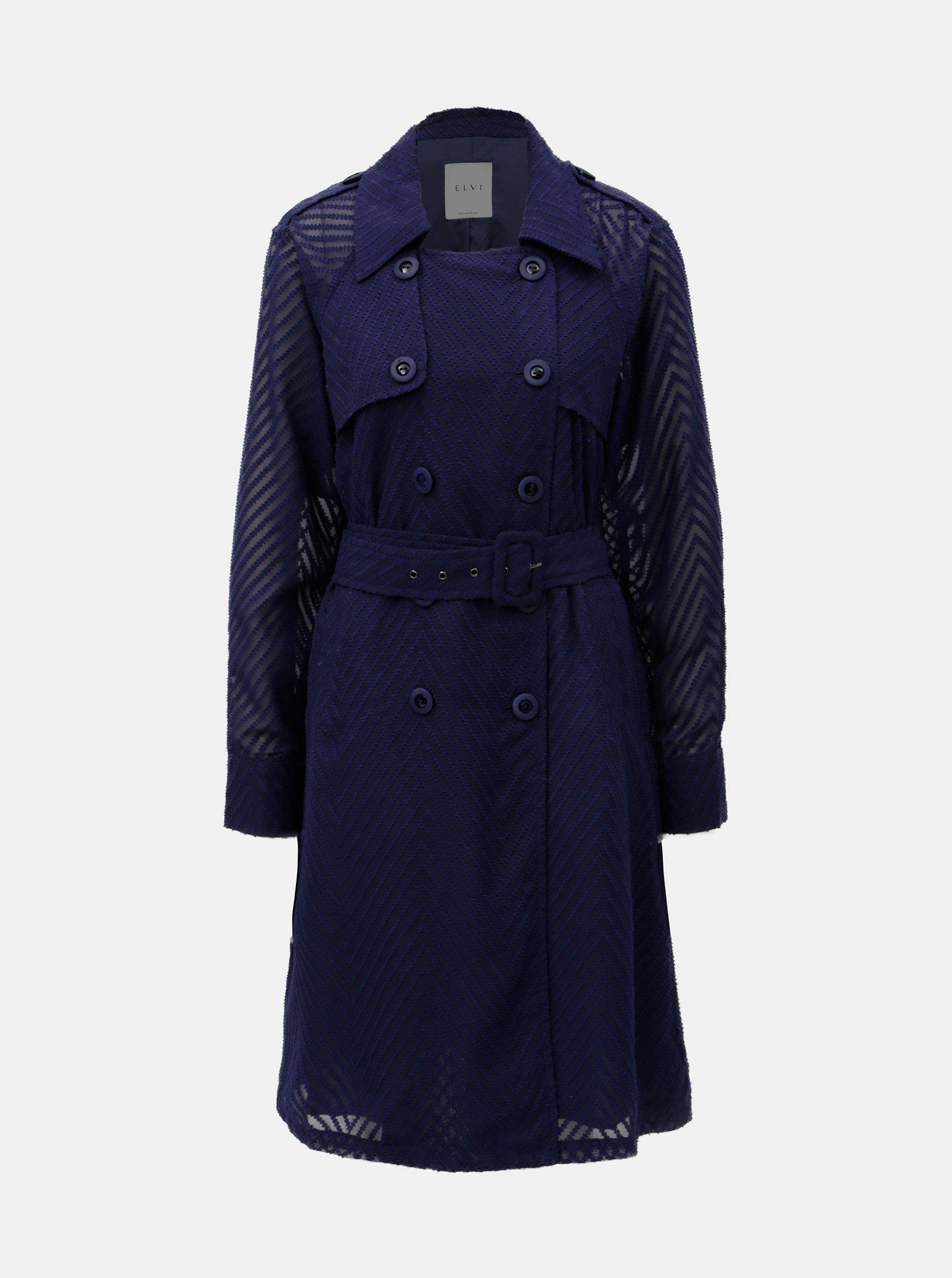 Tmavě modrý lehký kabát s průsvitnými rukávy ELVI 5c0c05d1655