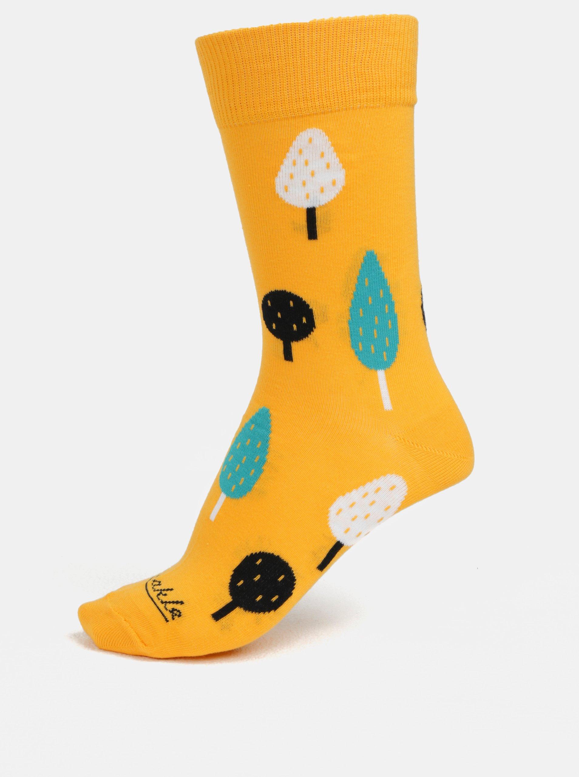 Žluté unisex ponožky s motivem stromů Fusakle Ovocný sad