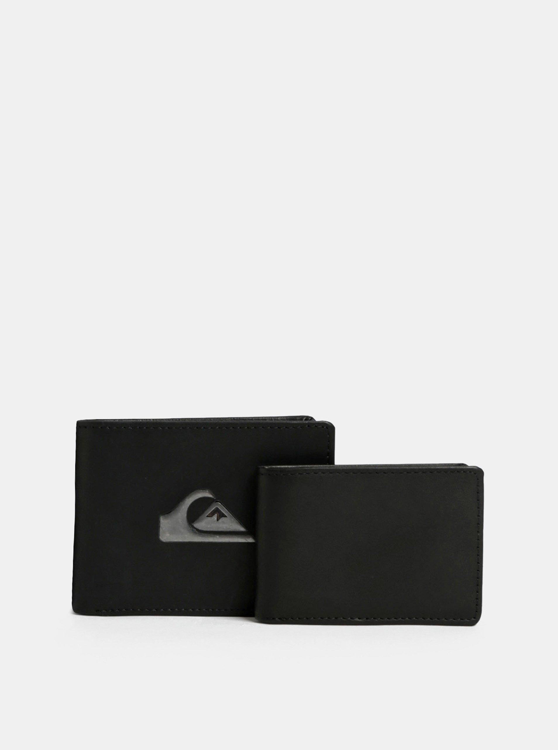 Čierna pánska kožená peňaženka s puzdrom na doklady Quiksilver