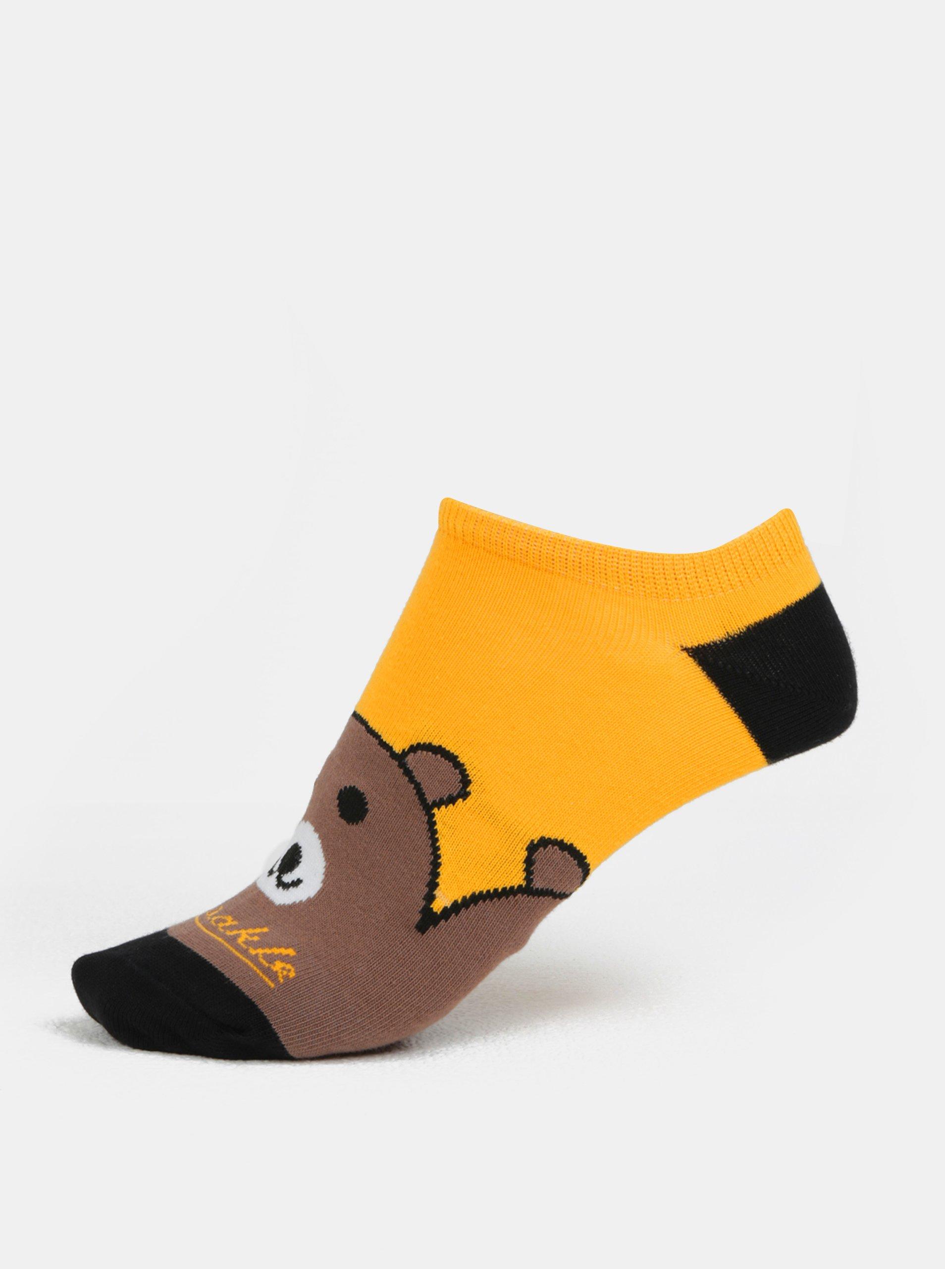 Hnědo-žluté unisex kotníkové ponožky Fusakle Maco