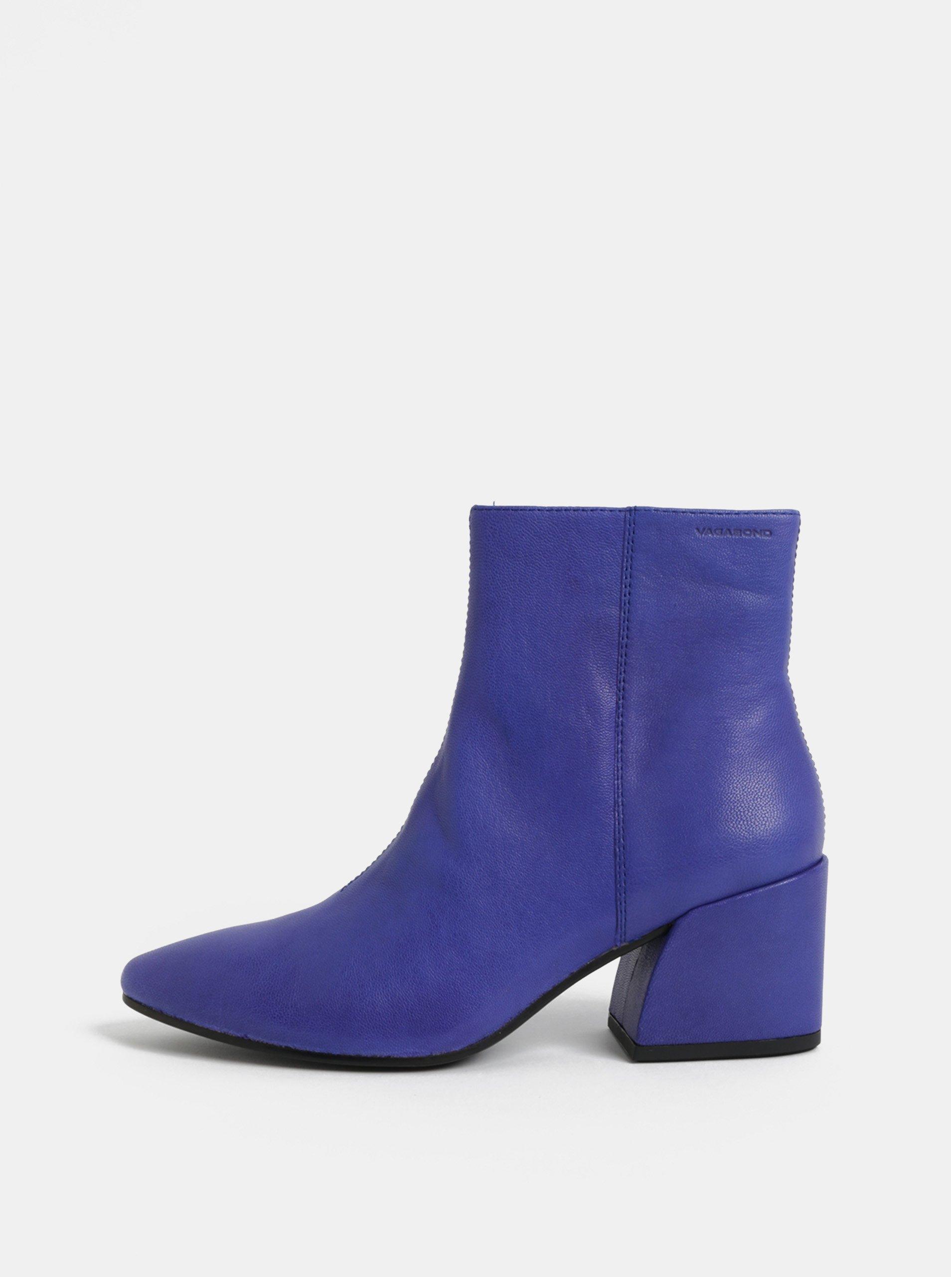 Modré dámské kožené kotníkové boty na podpatku Vagabond Olivia
