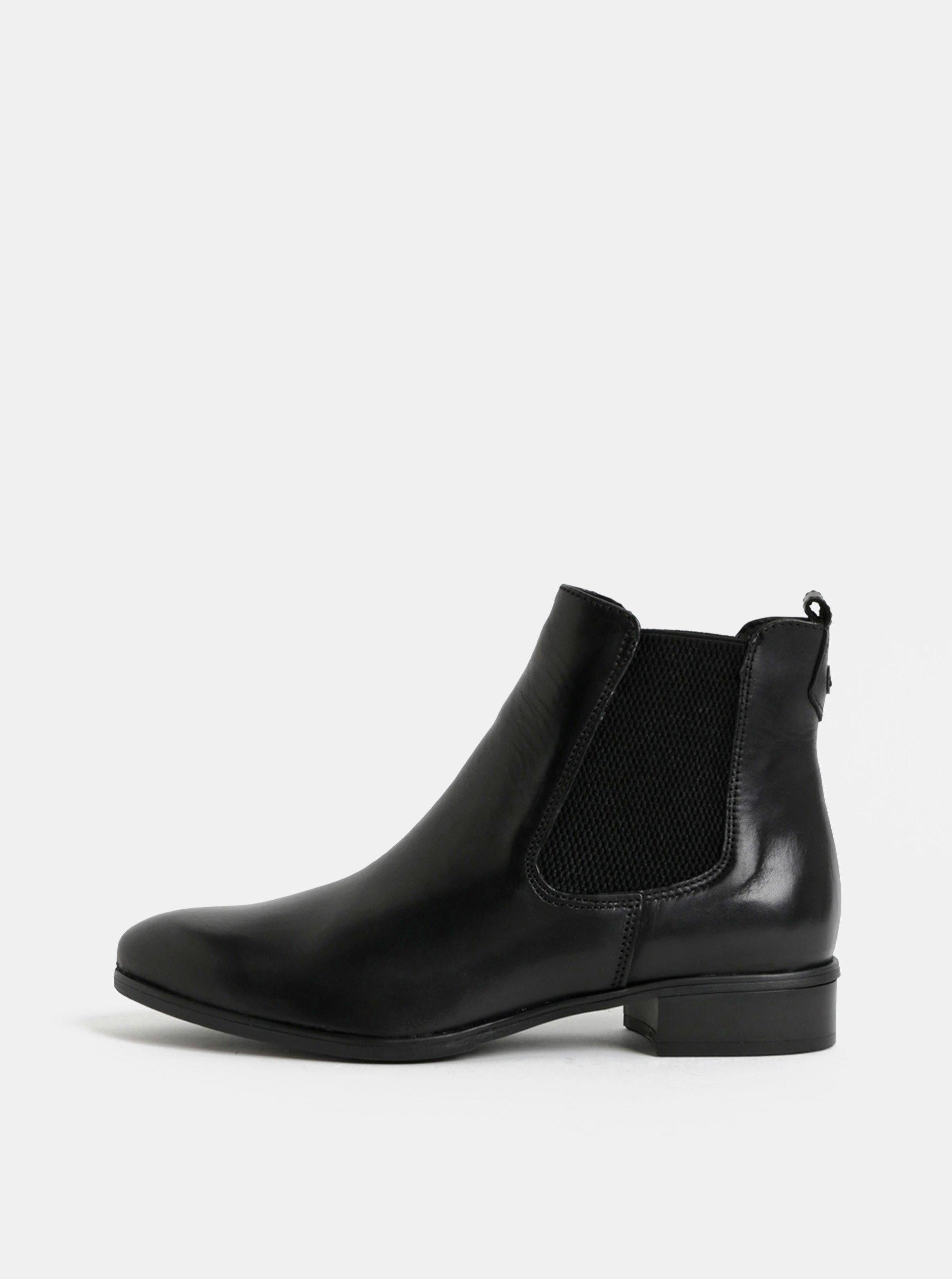 230282f68b4f Čierne kožené chelsea topánky Tamaris