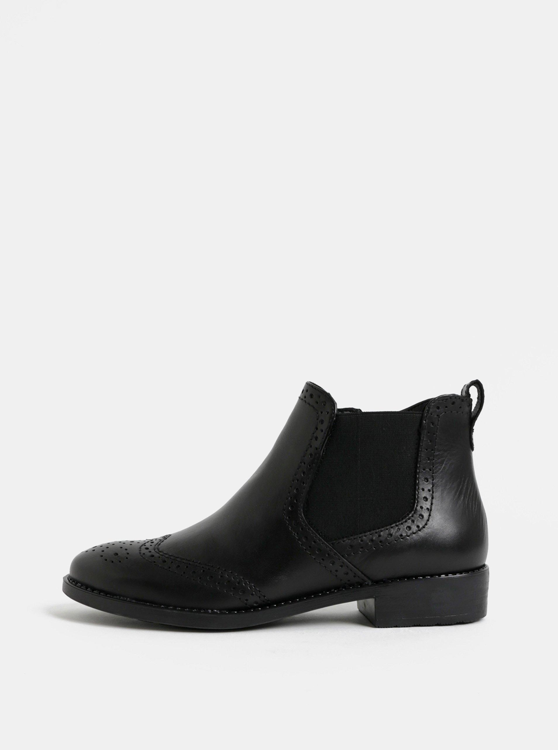 Černé kožené brogue chelsea boty Tamaris