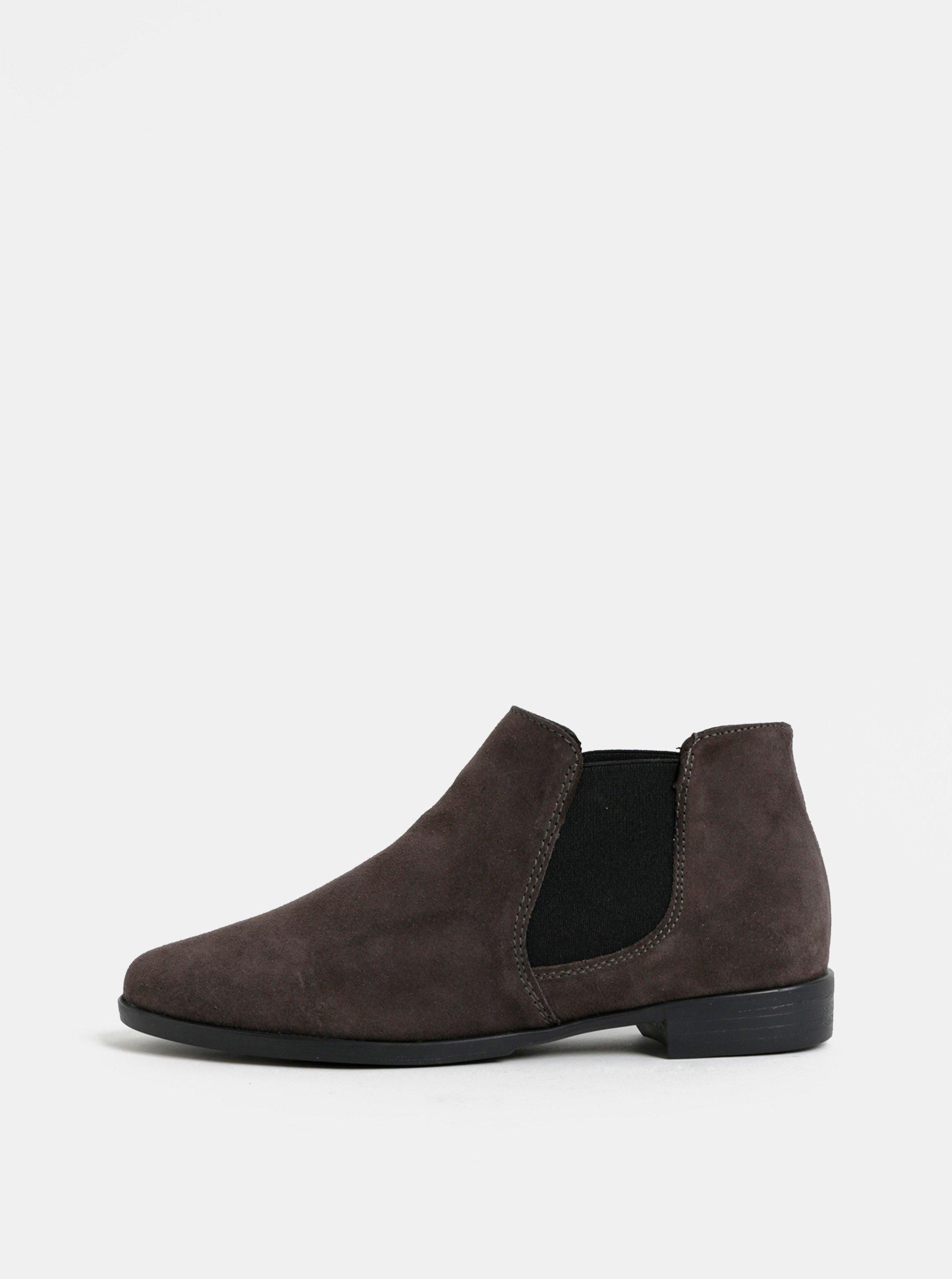 Tmavě hnědé semišové chelsea boty Tamaris