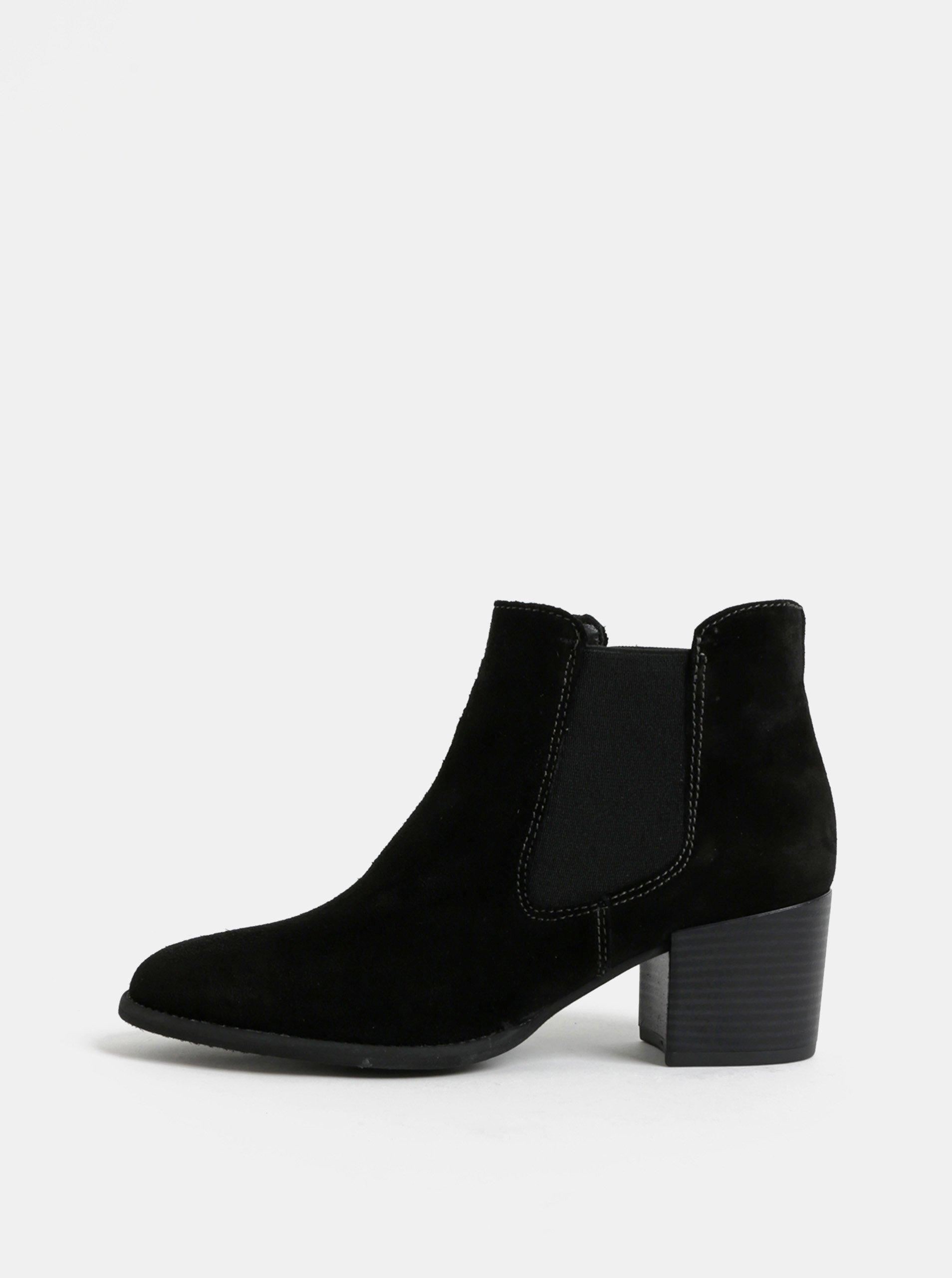 76ff79f5136 Černé semišové chelsea boty na podpatku Tamaris