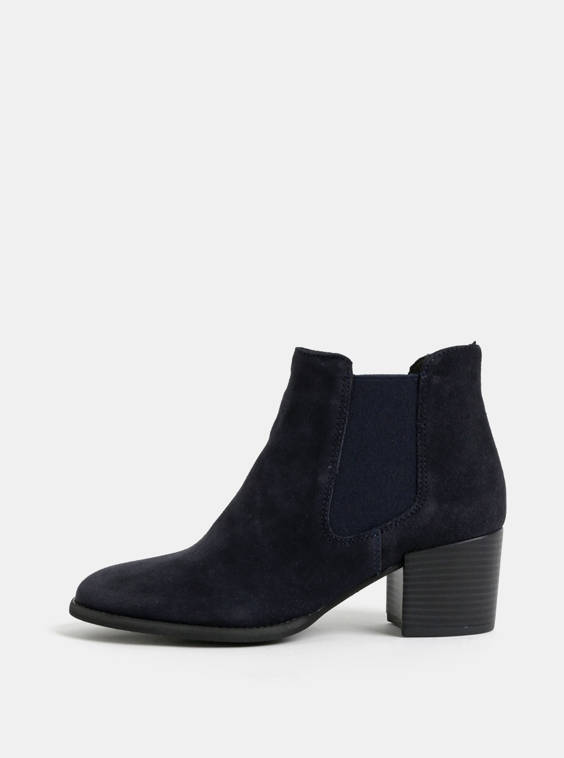Tmavě modré semišové chelsea boty na podpatku Tamaris