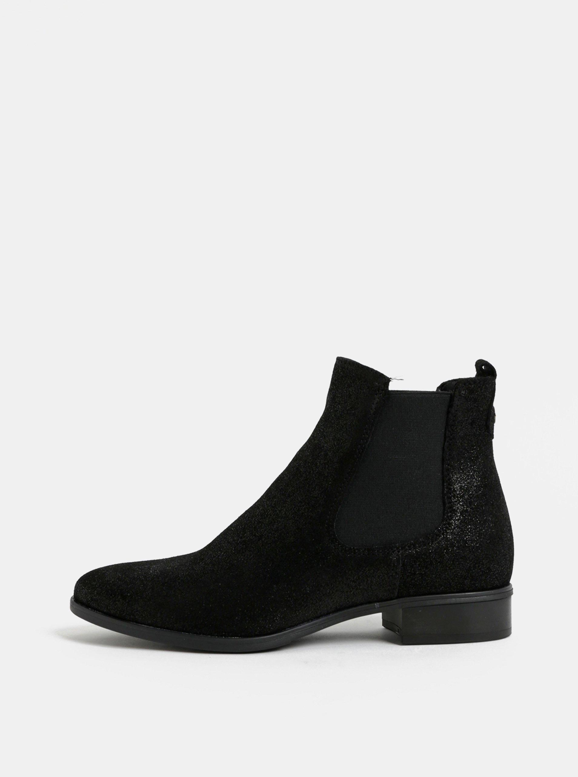 Černé semišové třpytivé chelasea boty Tamaris