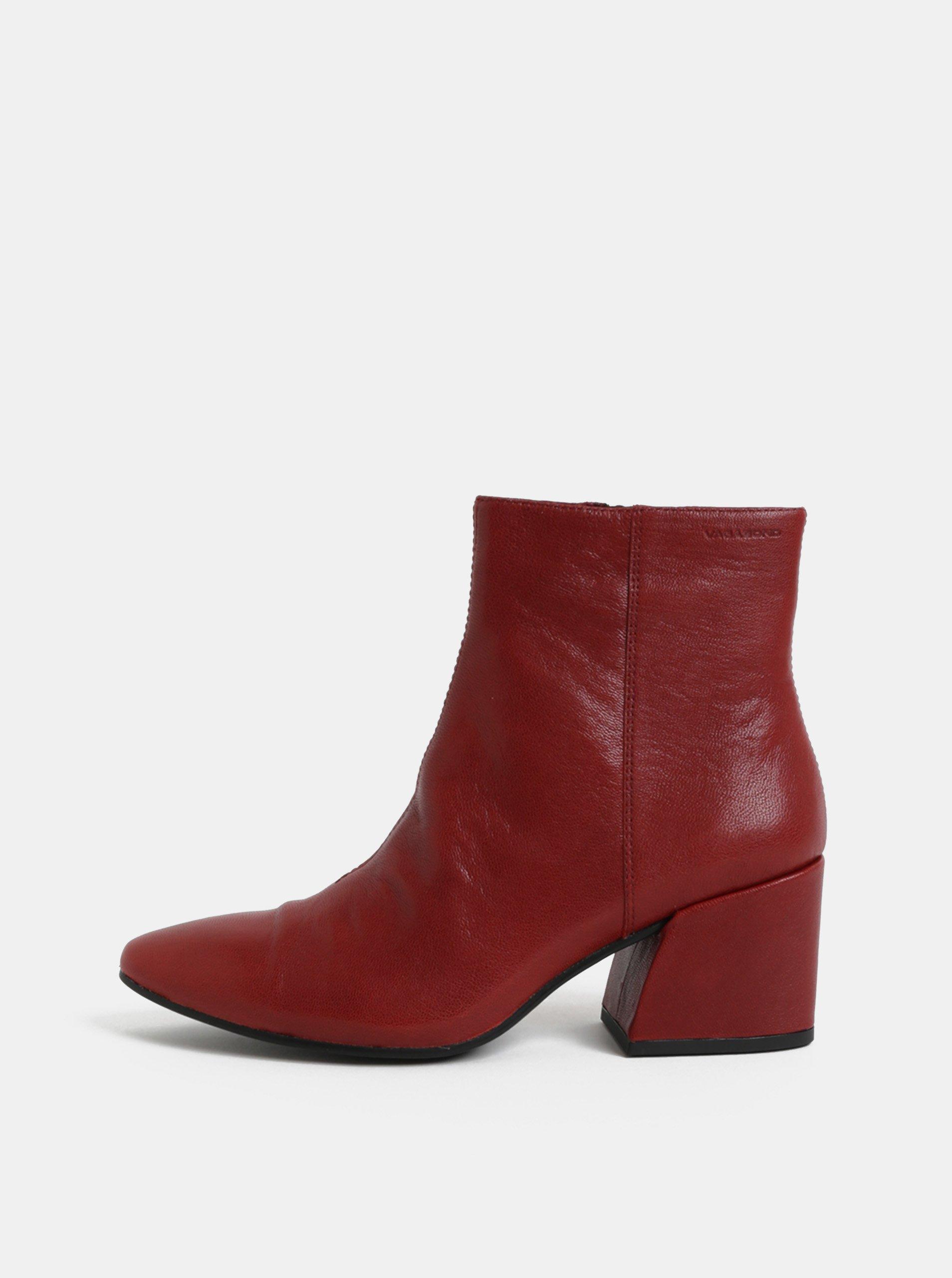 Červené dámské kožené kotníkové boty na podpatku Vagabond Olivia