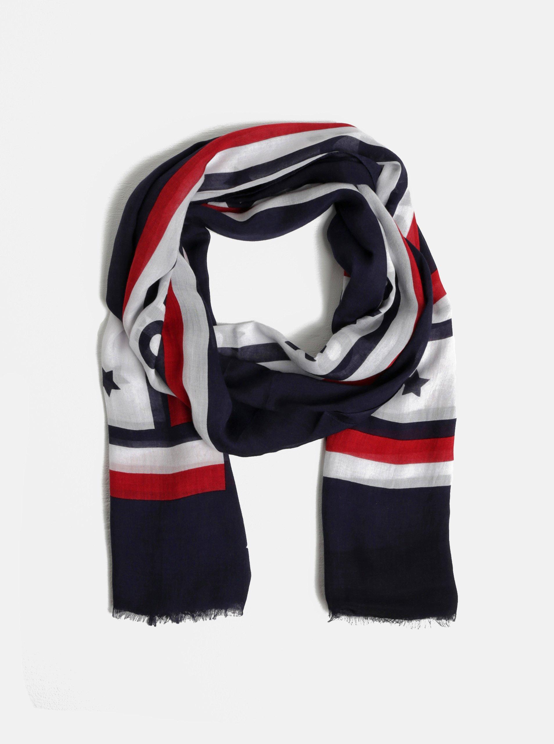 67c2cd462 Tmavě modrý vzorovaný dámský šátek Tommy Hilfiger