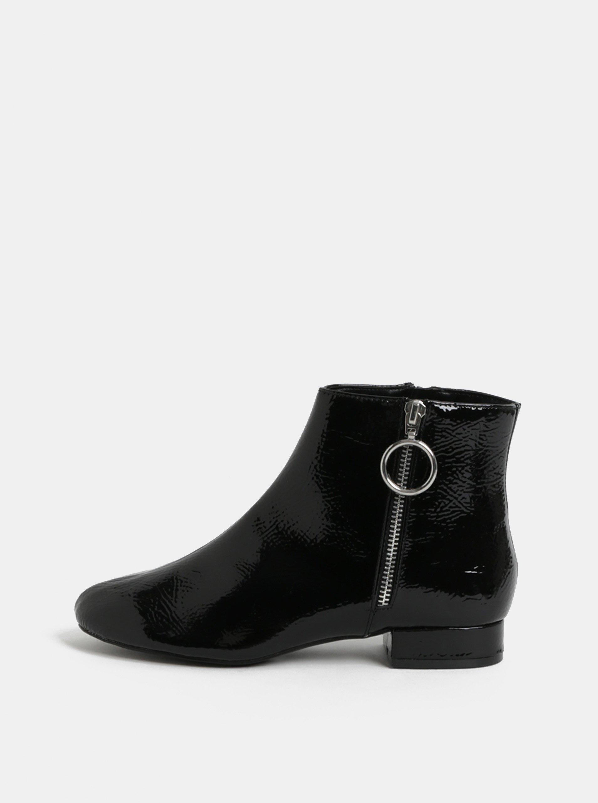 Černé lesklé kotníkové boty Dorothy Perkins