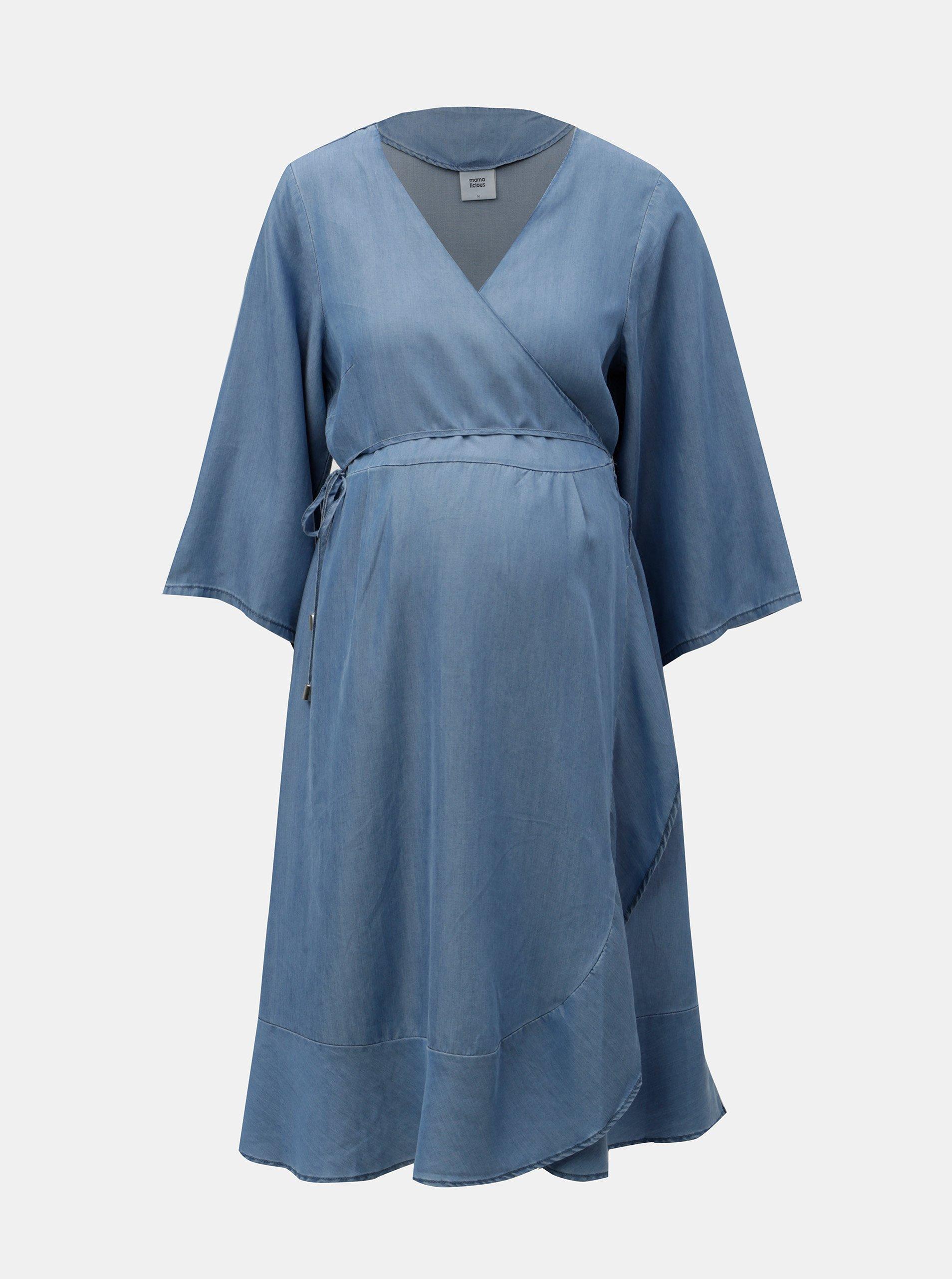 Modré tehotenské zavinovacie šaty Mama.licious Isaella 2859396e473