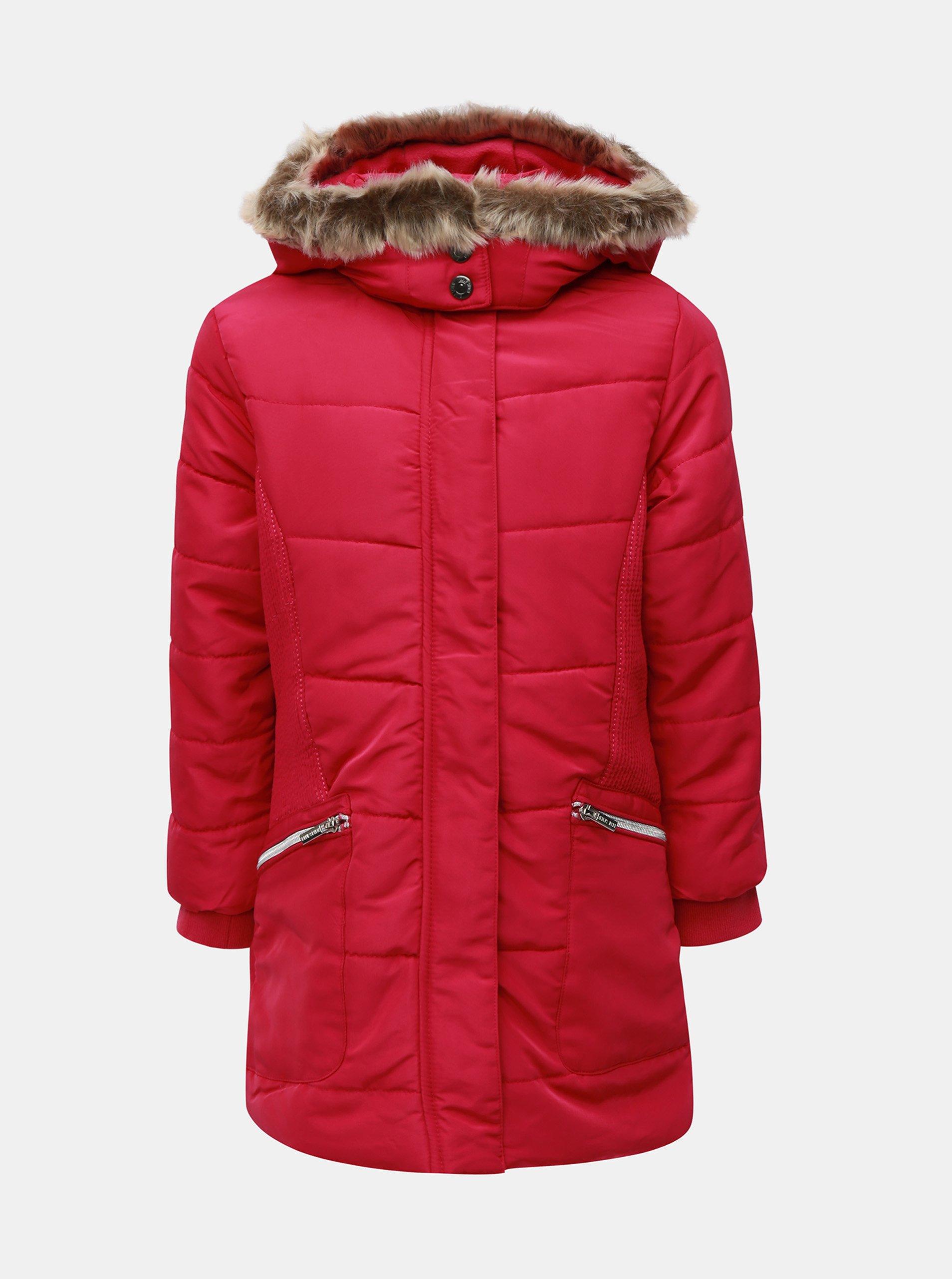 Tmavě růžová zimní prošívaná bunda s umělým kožíškem Blue Seven