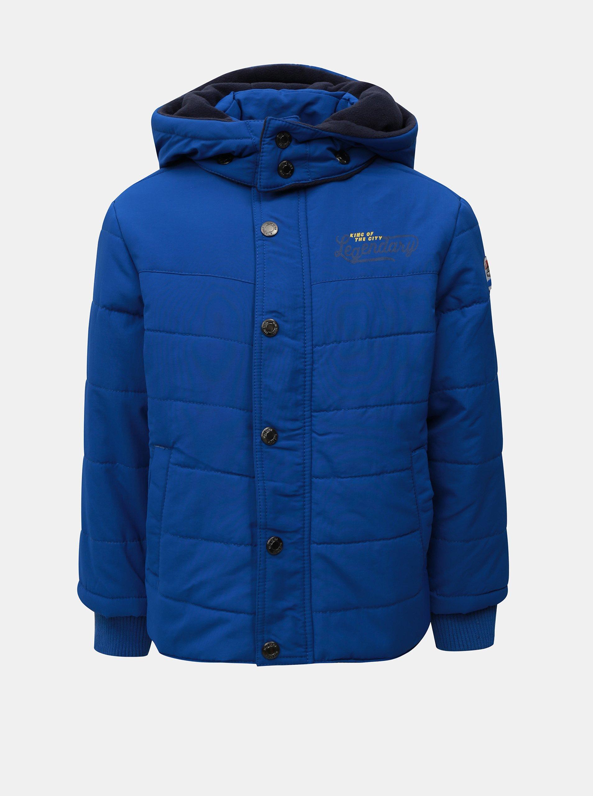 Modrá klučičí zimní prošívaná bunda s kapucí Blue Seven