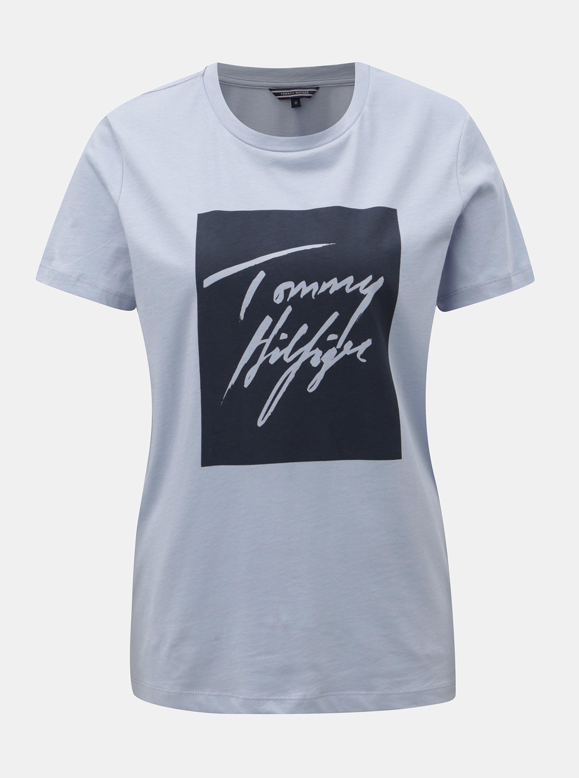 Světle modré dámské tričko s potiskem Tommy Hilfiger Effy