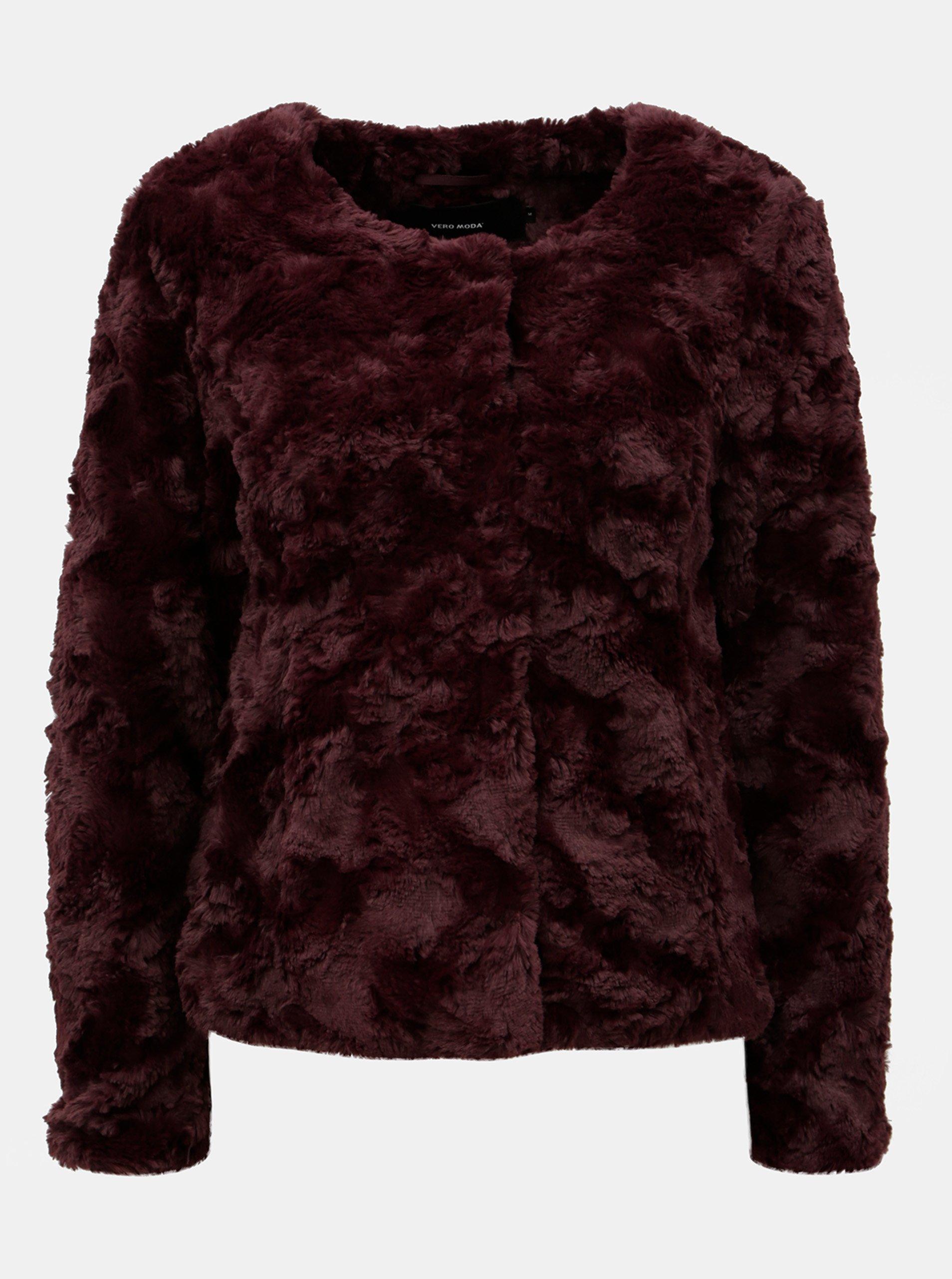 Vínový kabát z umelej kožušiny VERO MODA Curl