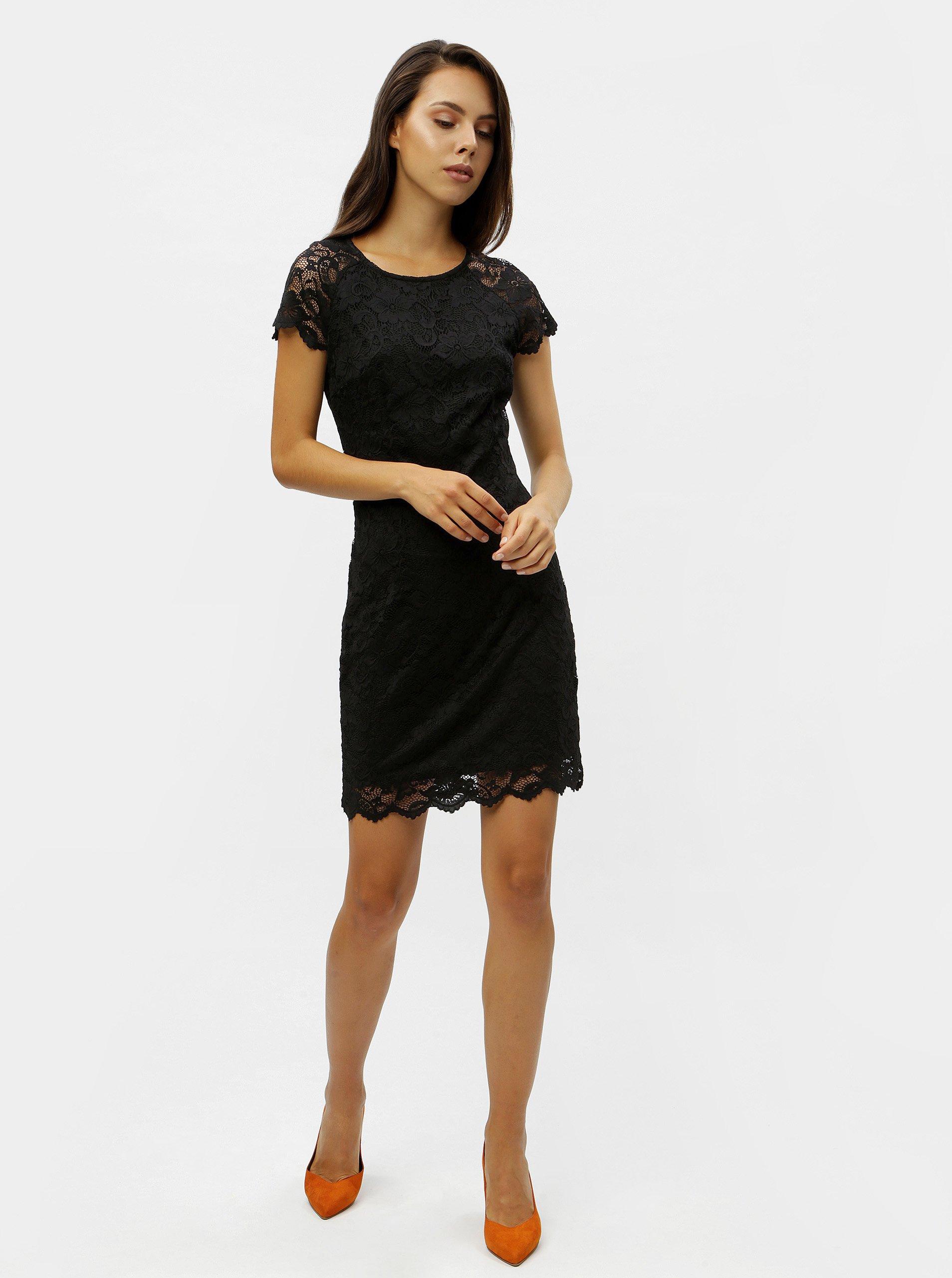 dae1531e26e8 Čierne čipkované šaty s krátkym rukávom VERO MODA Milli