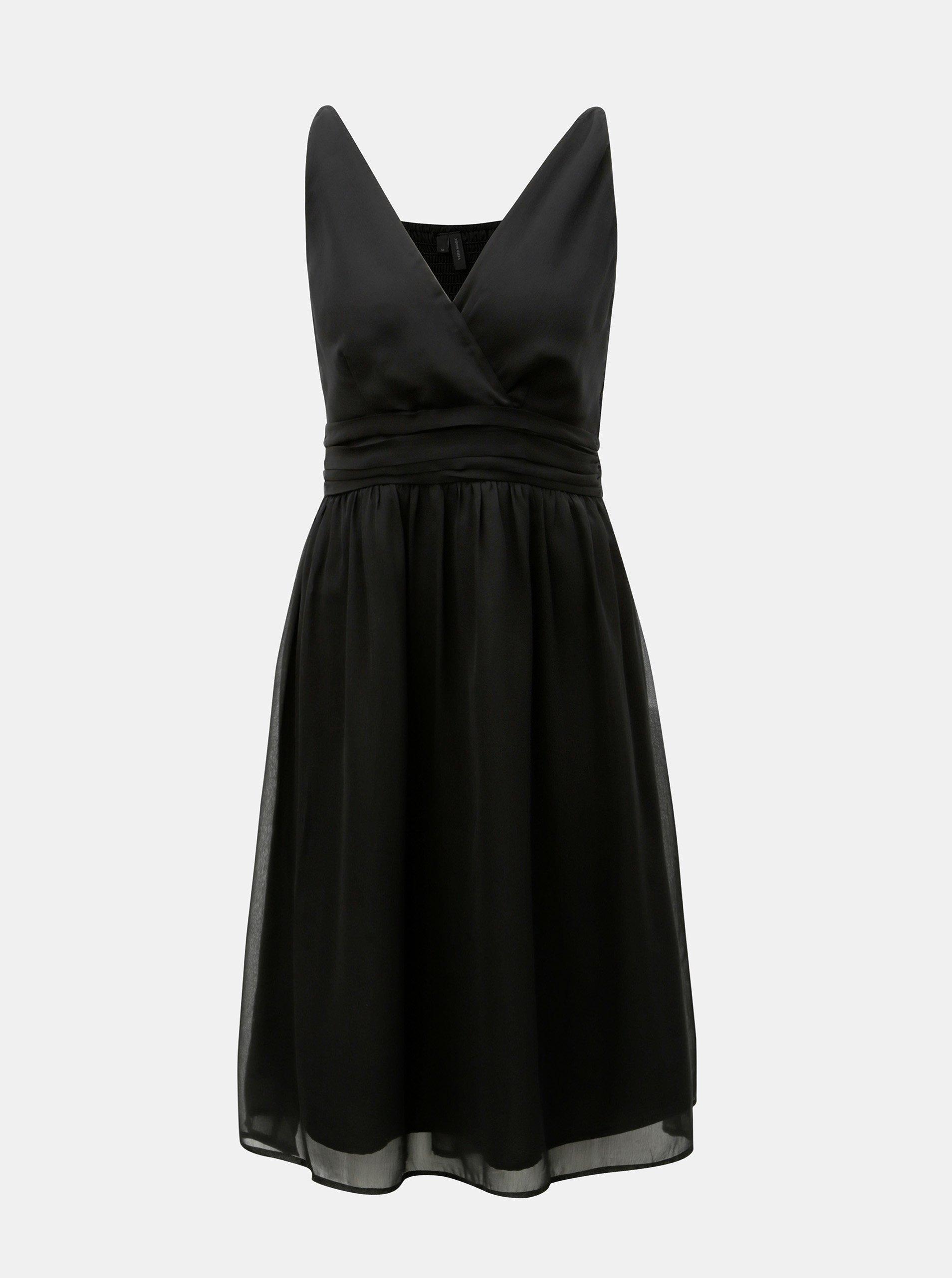 Černé šaty na ramínka VERO MODA Josephine