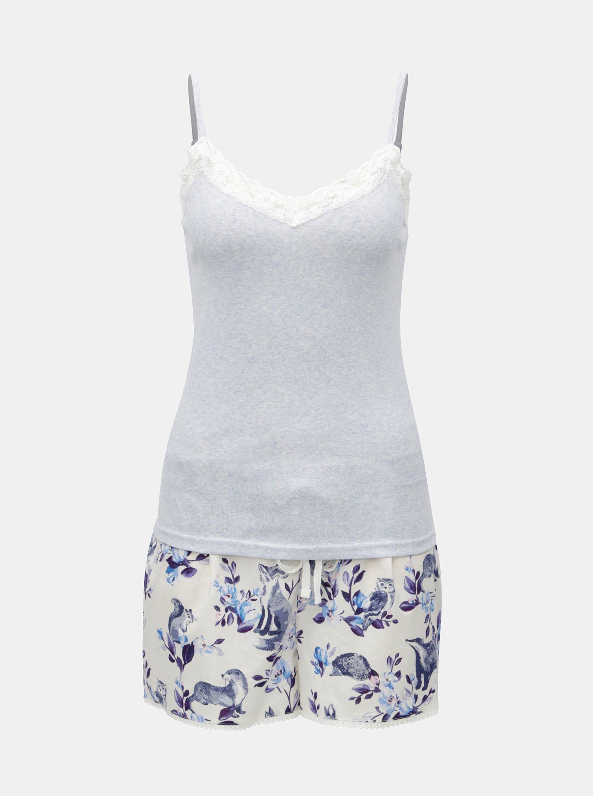 Bielo-modré dámske dvojdielne pyžamo Cath Kidston