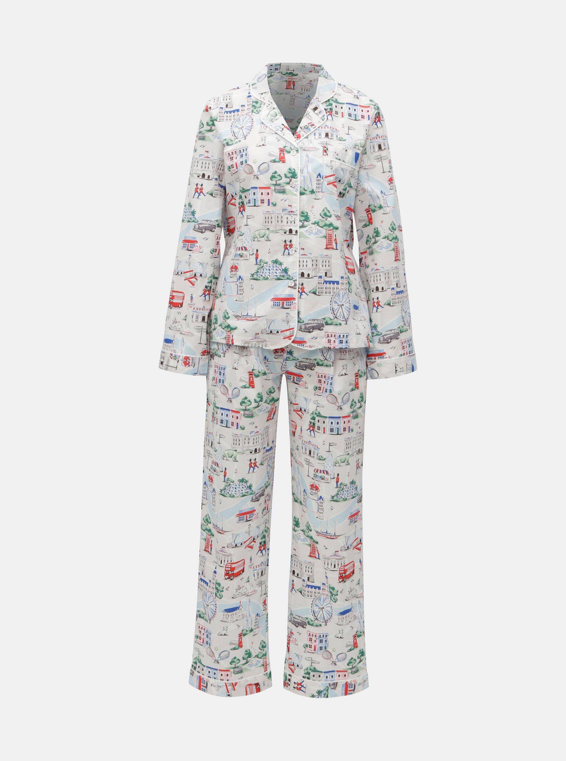 Světle šedé dámské vzorované dvoudílné pyžamo Cath Kidston