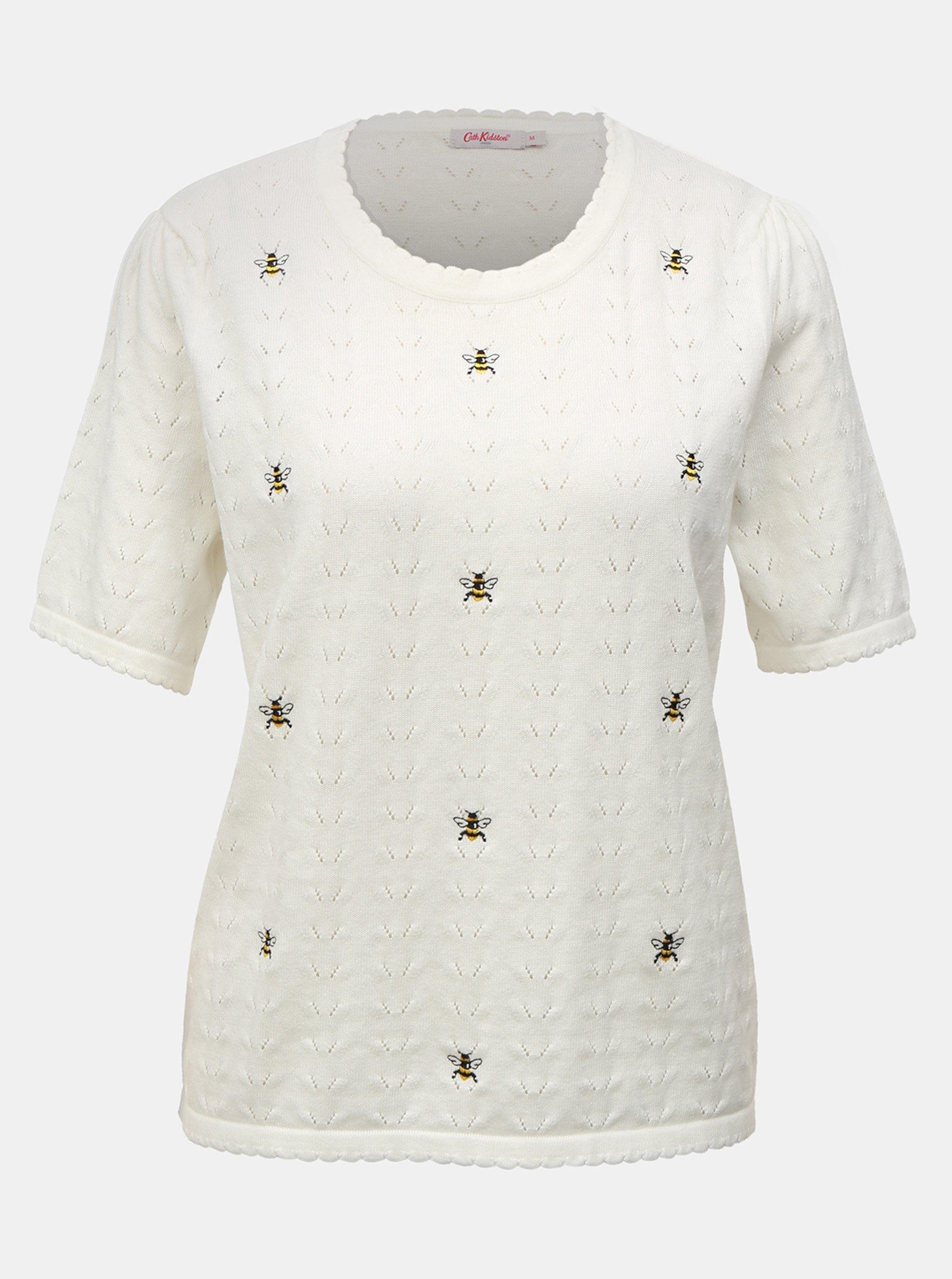 Fotografie Krémový dámský lehký svetr s krátkým rukávem a výšivkami Cath Kidston