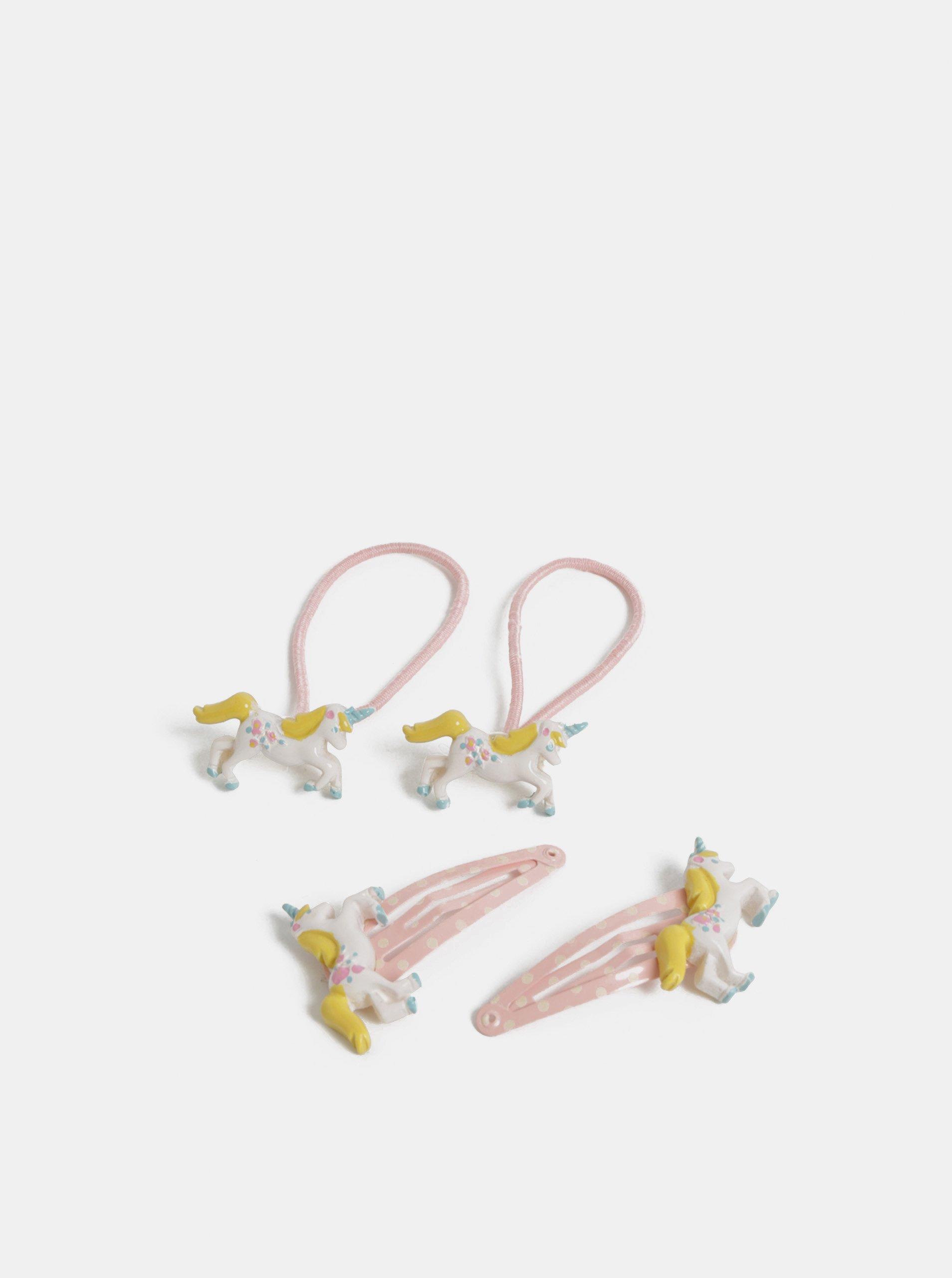 Růžová holčičí sada dvou gumiček a dvou sponek vlasů Cath Kidston