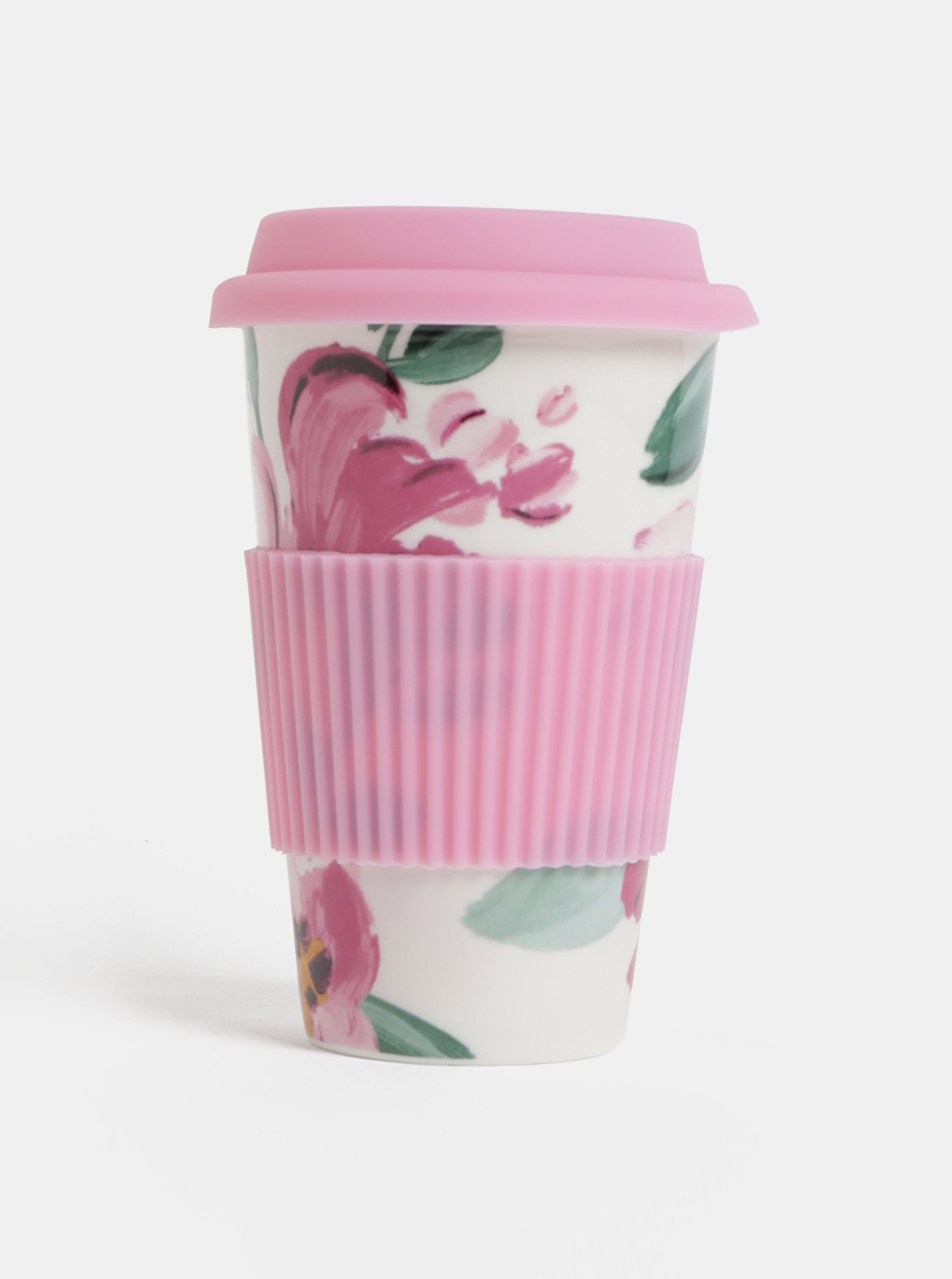 Krémovo-ružový keramický cestovný hrnček Cath Kidston 450 ml