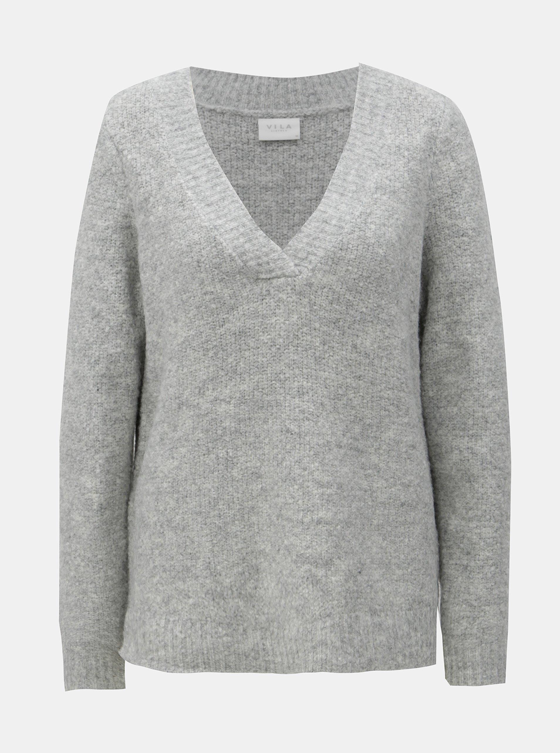 Sivý sveter s prímesou vlny VILA Place