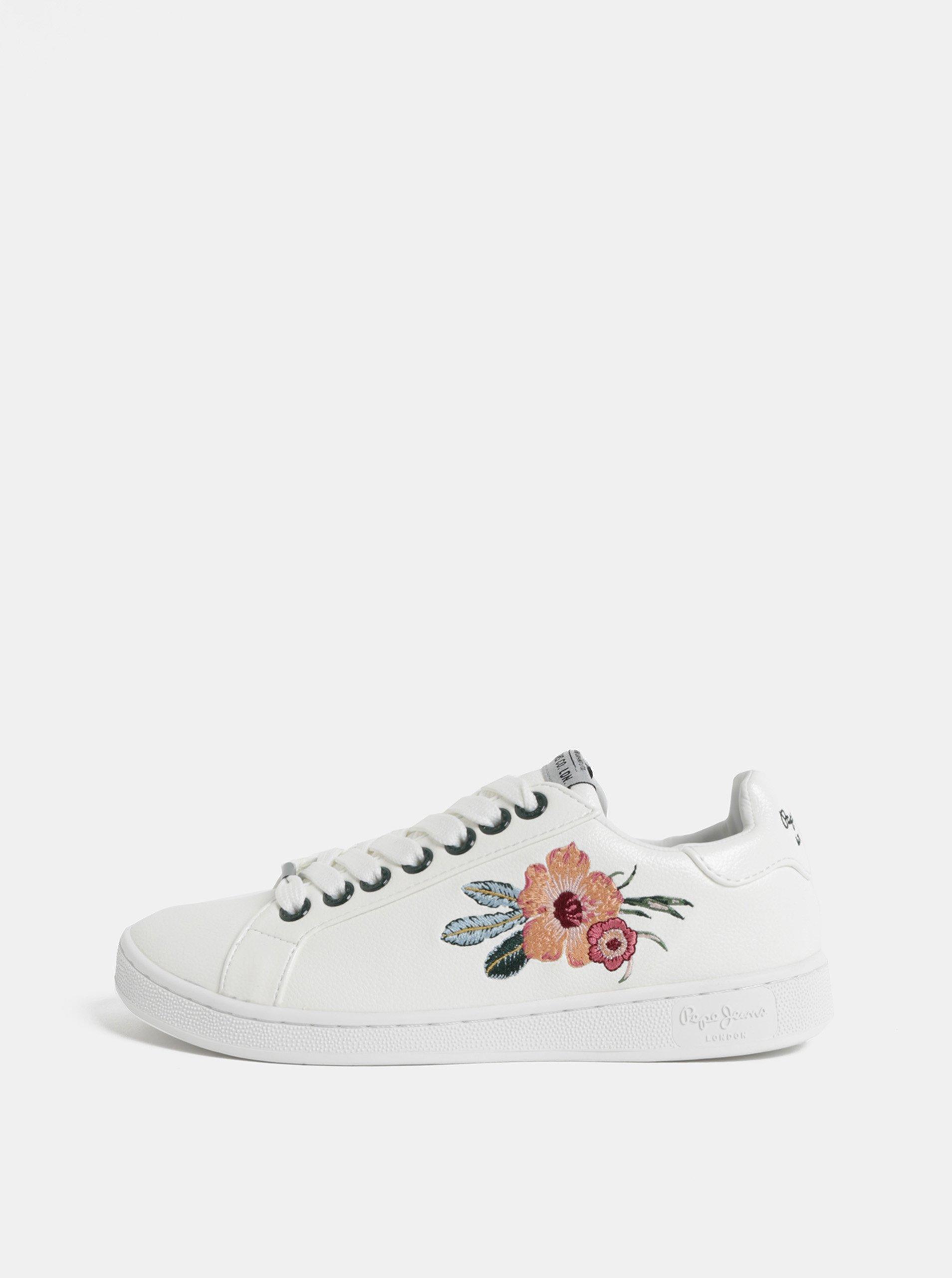 c57b0b31b61 Biele dámske tenisky s výšivkou Pepe Jeans Brompton flower