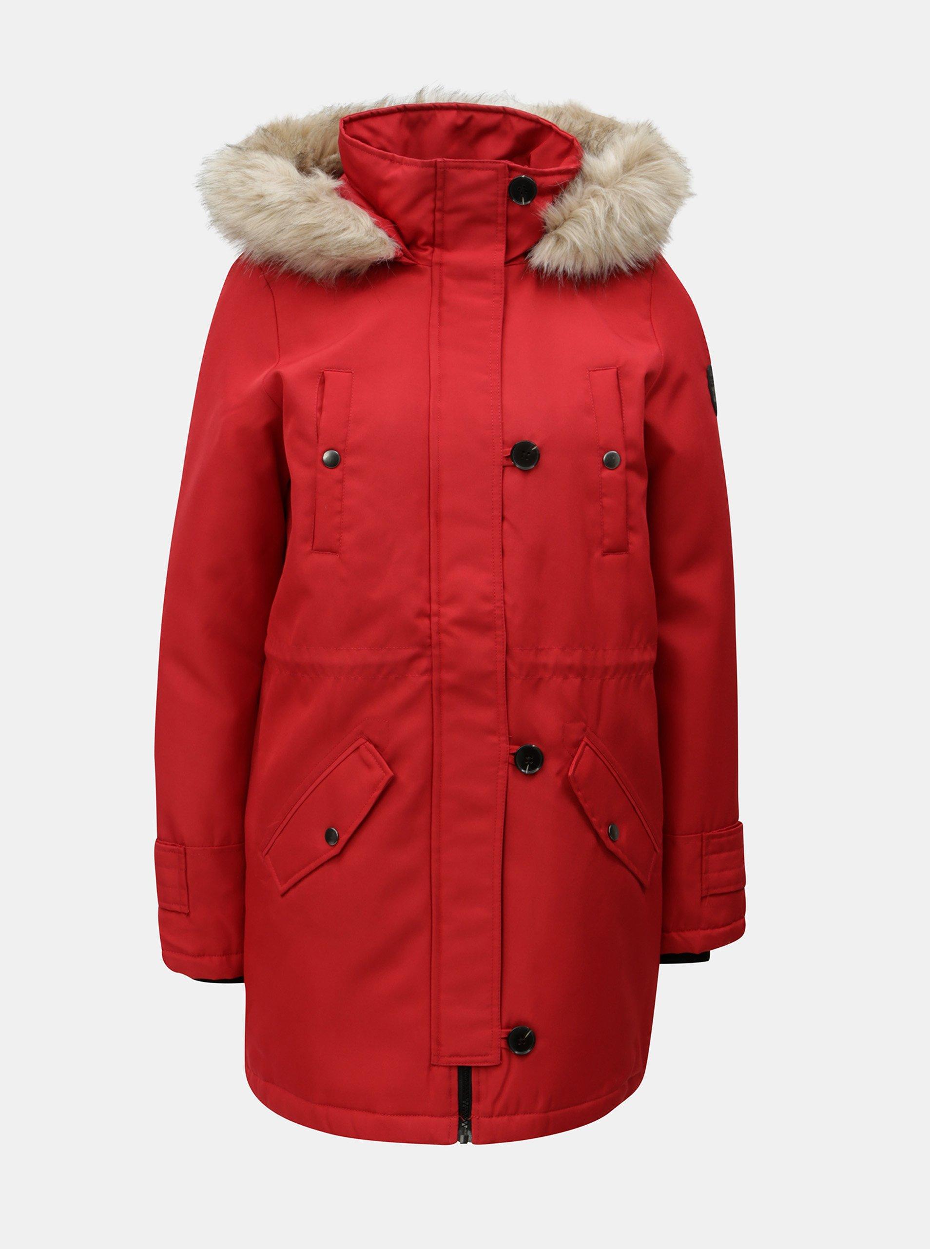 Červená zimní parka s umělým kožíškem VERO MODA