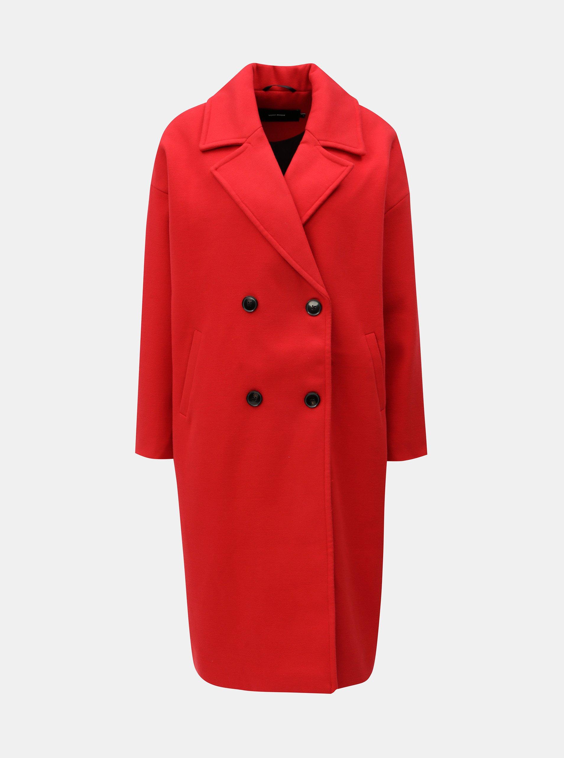červený kabát VERO MODA