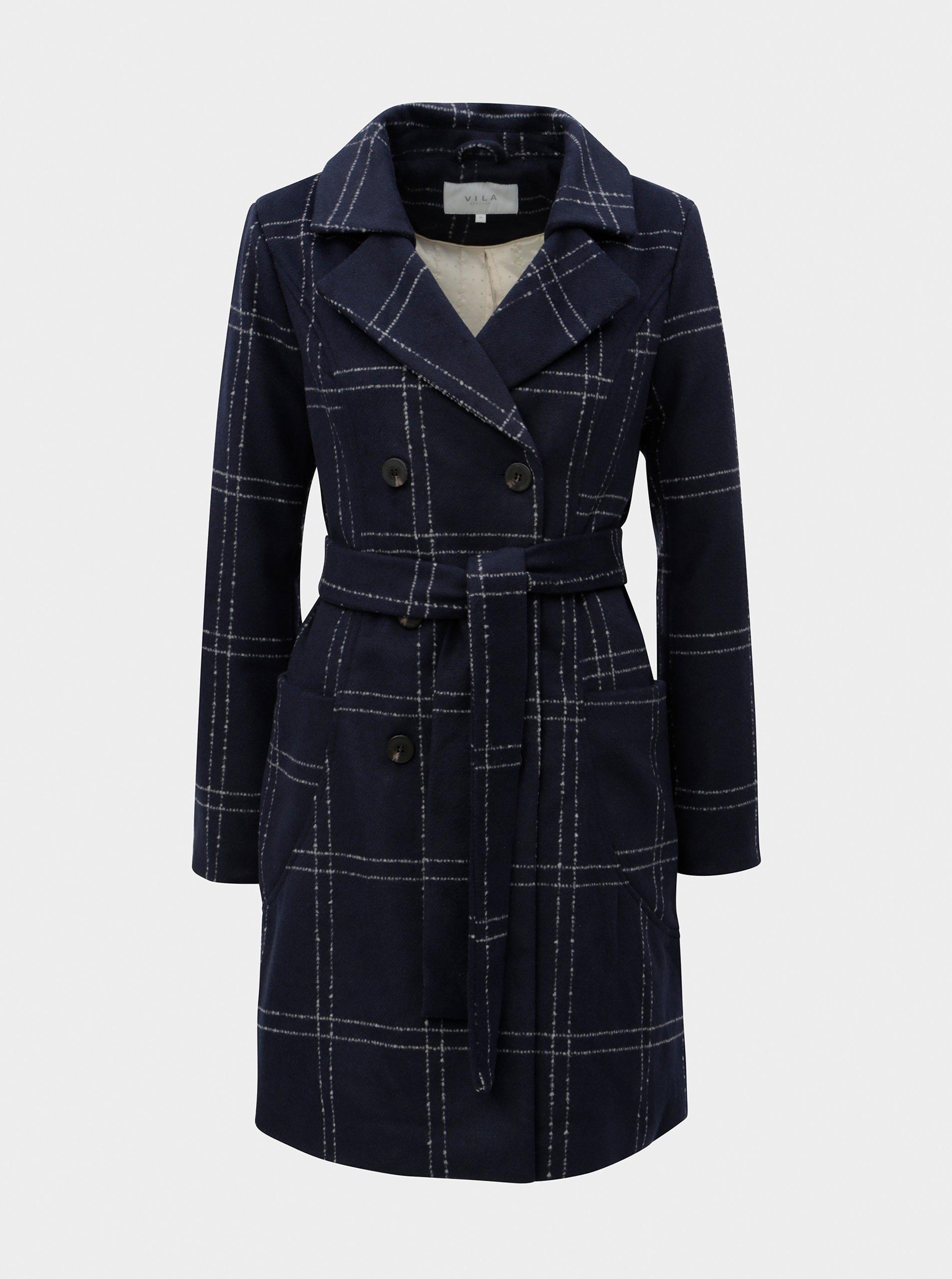 Tmavě modrý zimní kabát s příměsí vlny VILA Zingy