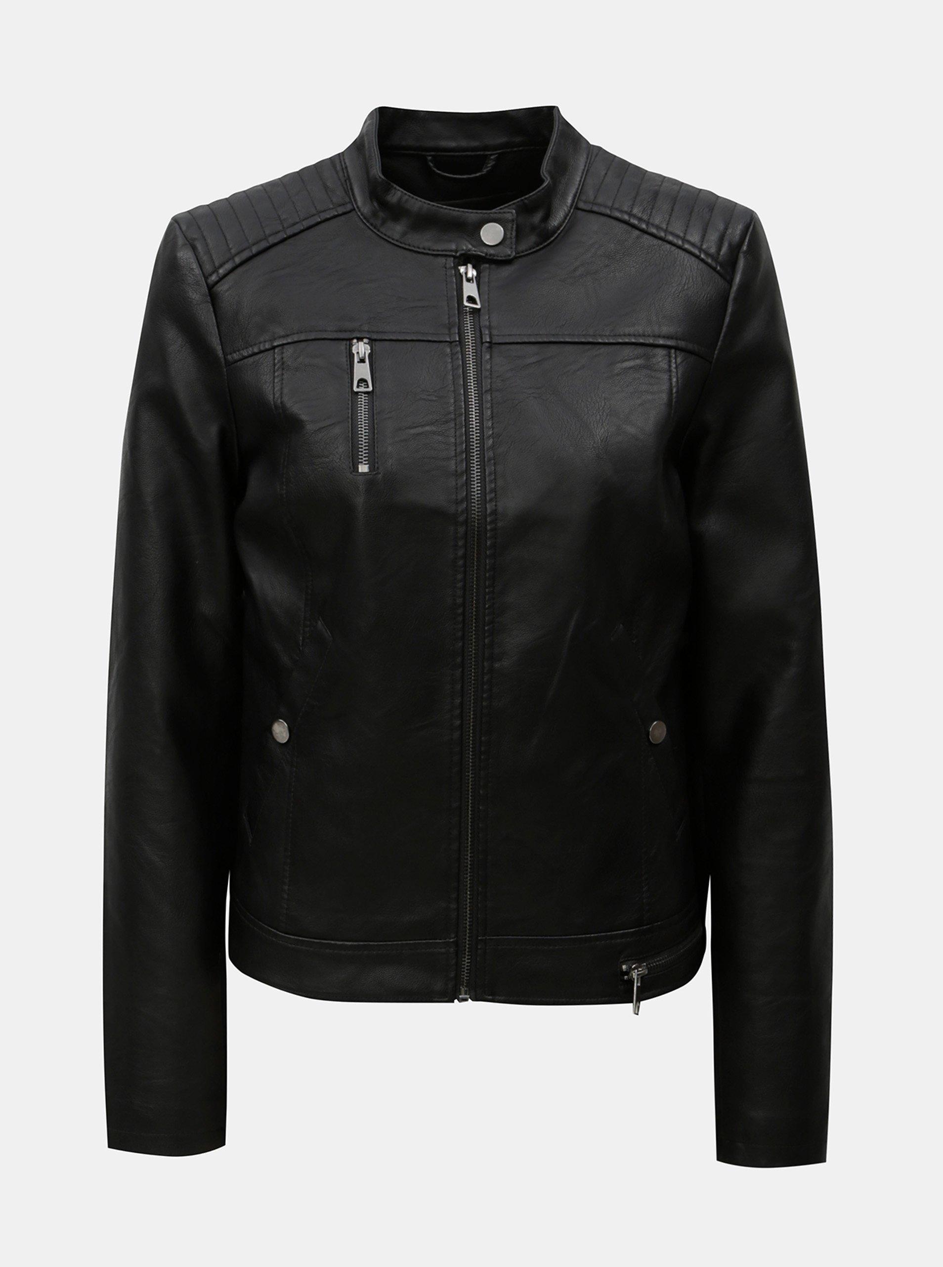 Čierna koženková bunda VERO MODA 851fdcdb04c