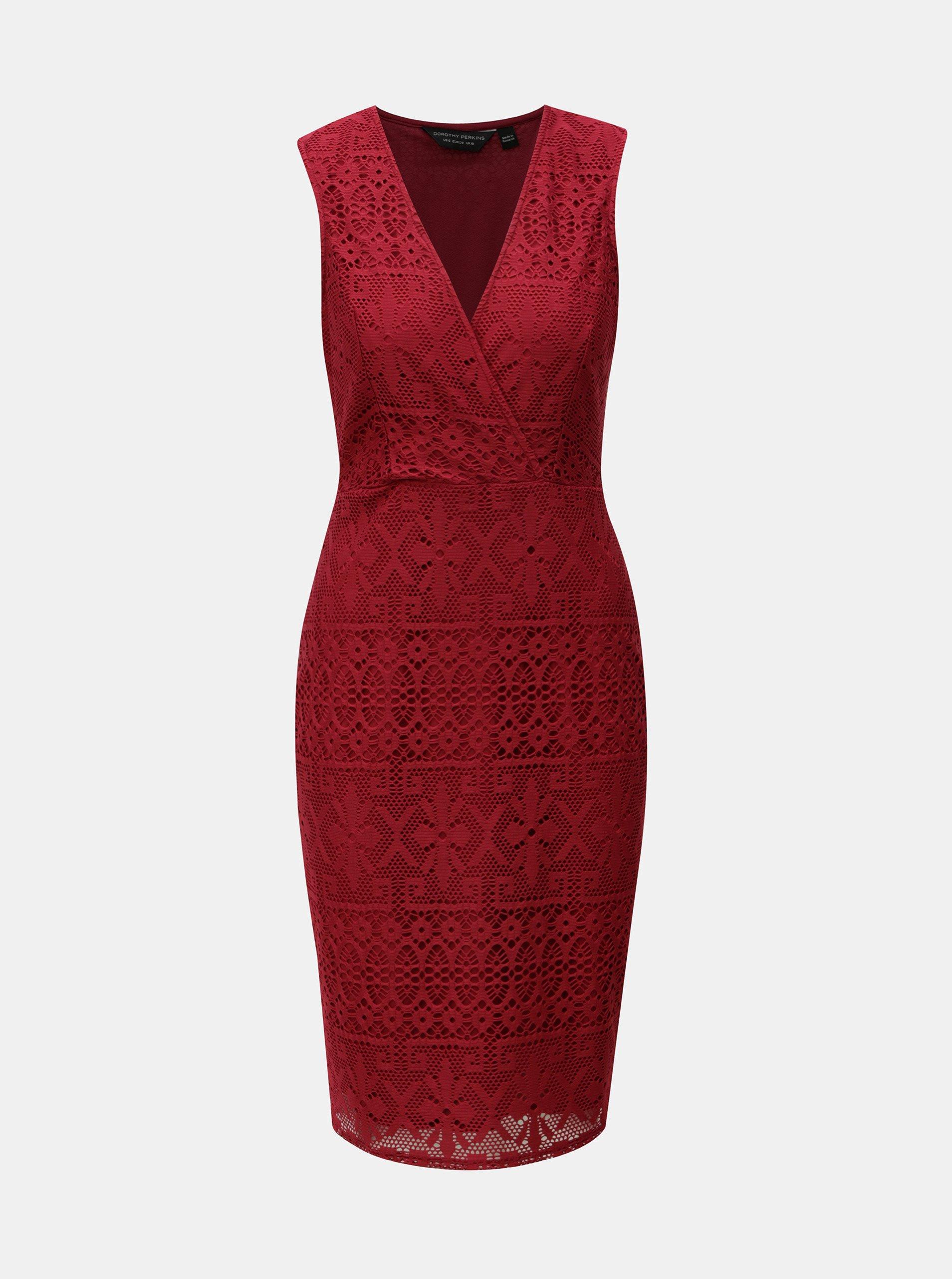 Červené čipkované šaty Dorothy Perkins