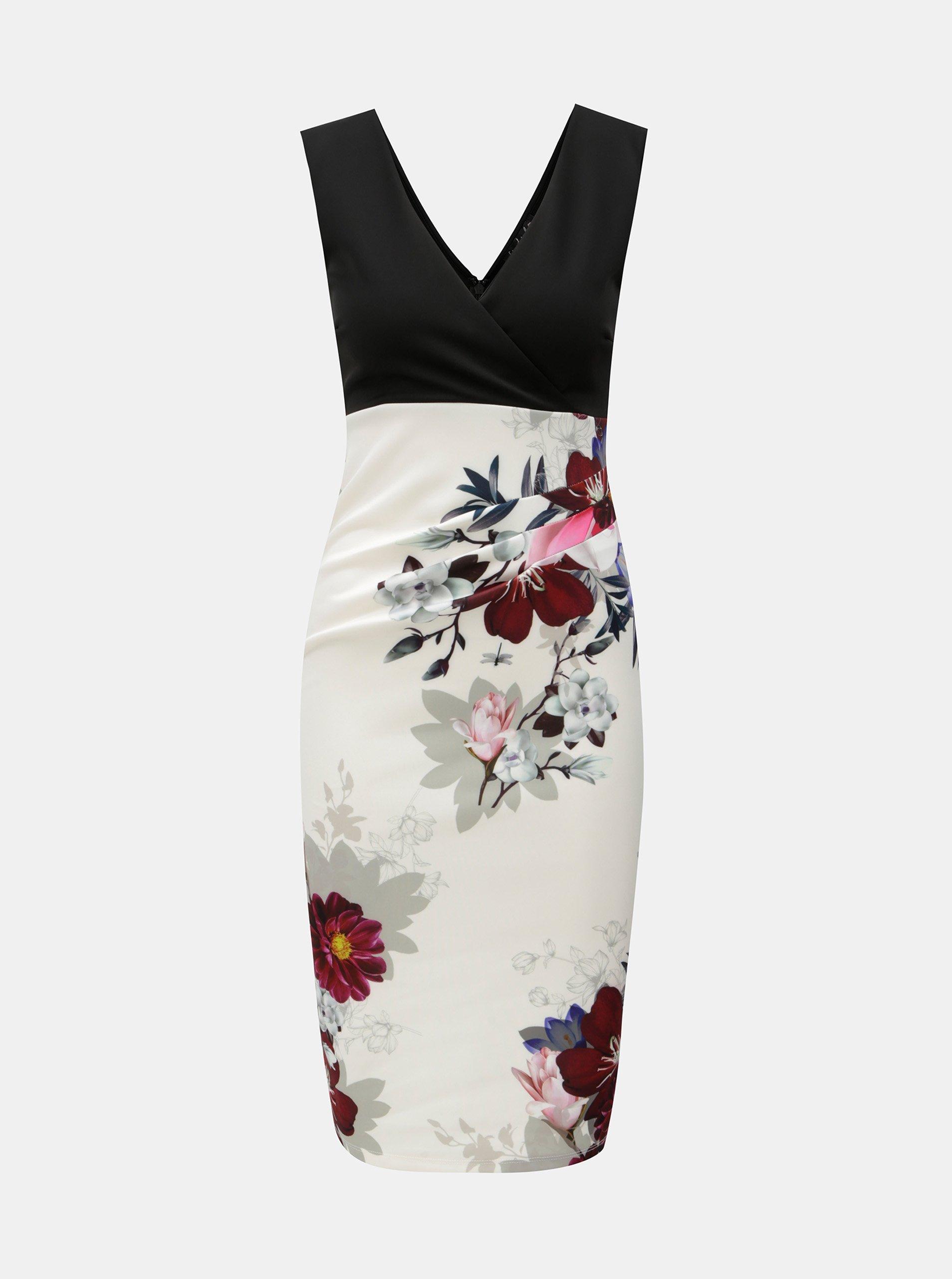 c443e1a15881 Čierno–biele kvetované šaty Scarlett B