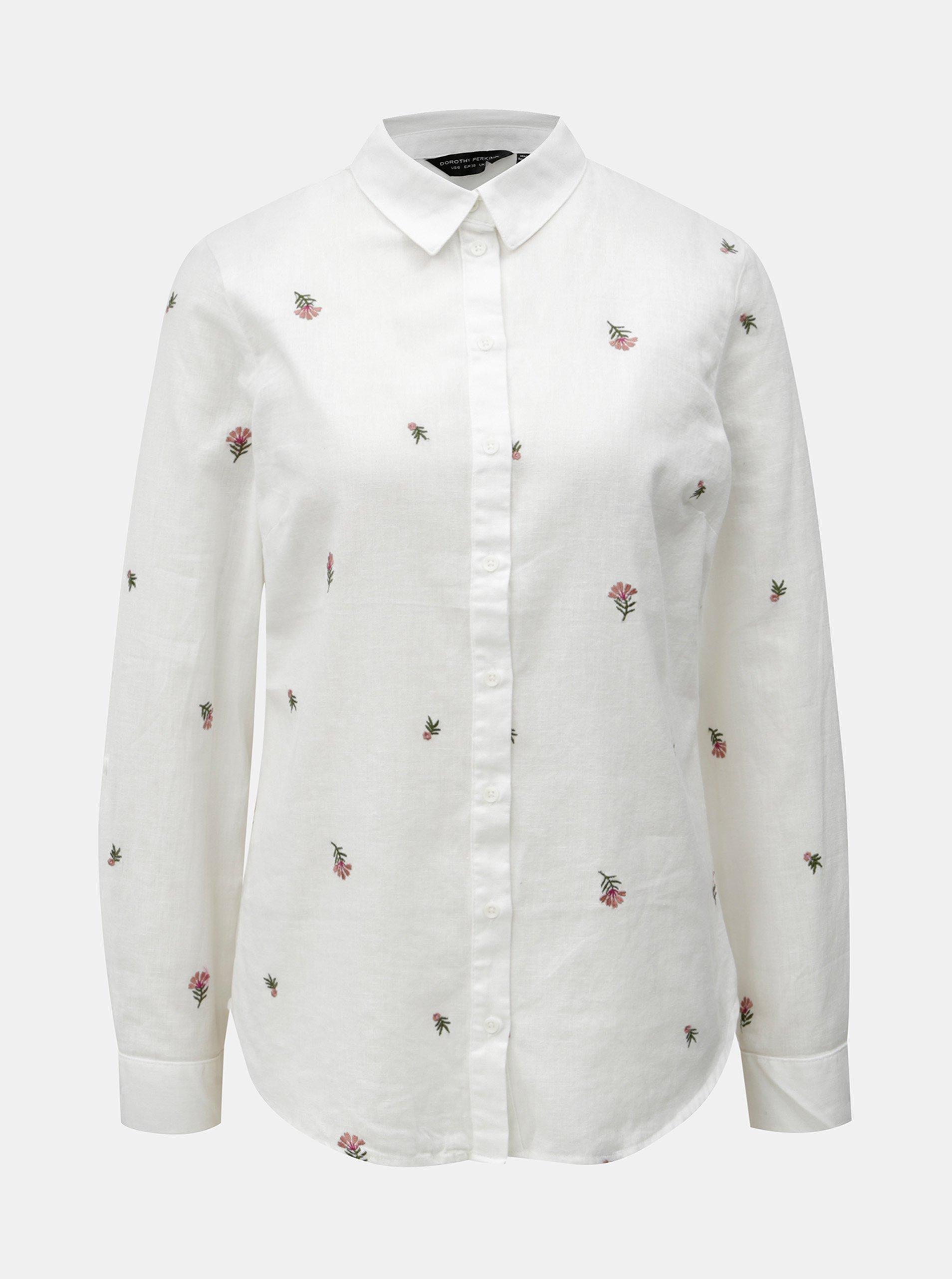 Bílá košile s příměsí lnu Dorothy Perkins