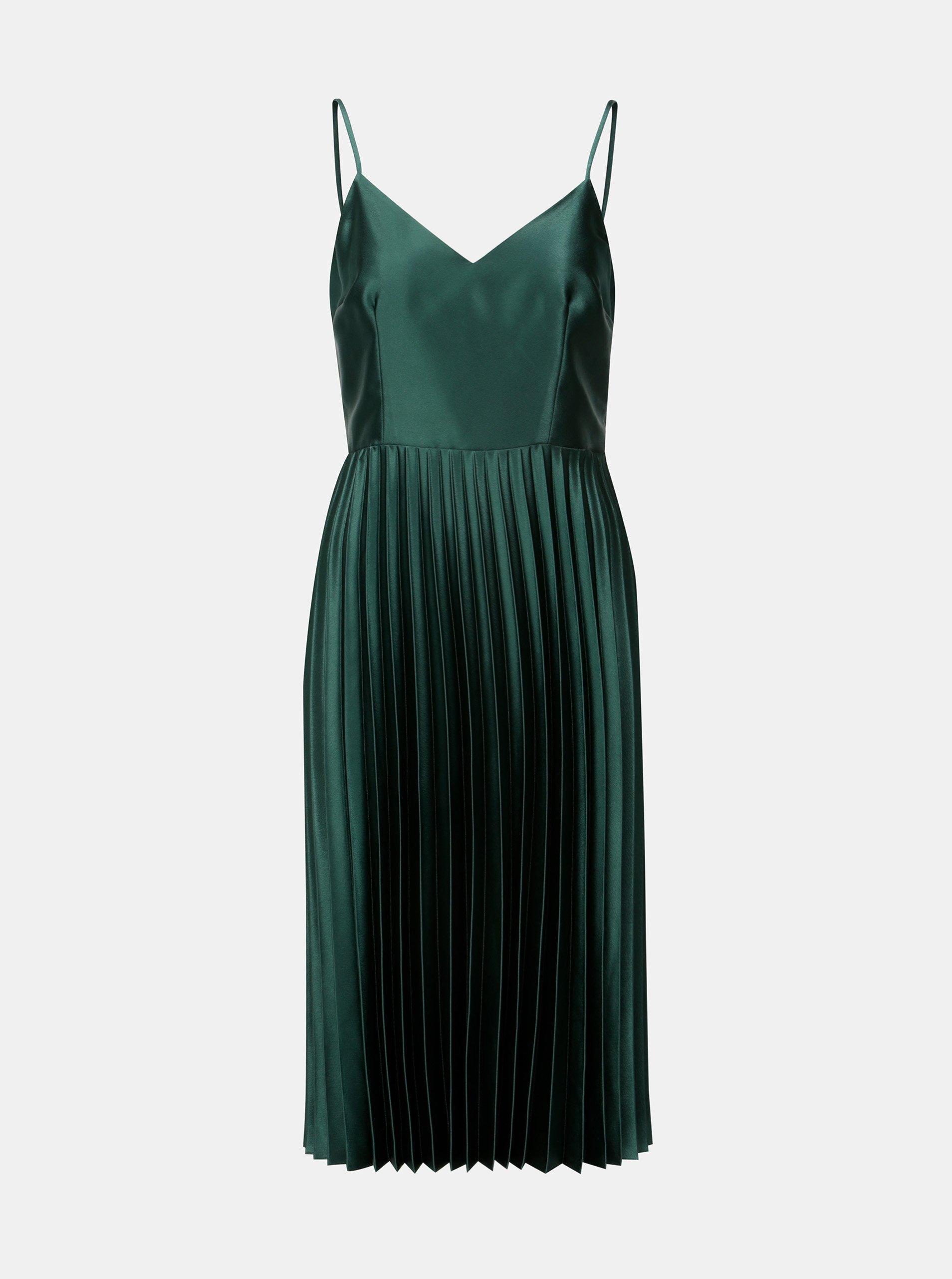 Zelené šaty s plisovanou sukní Dorothy Perkins