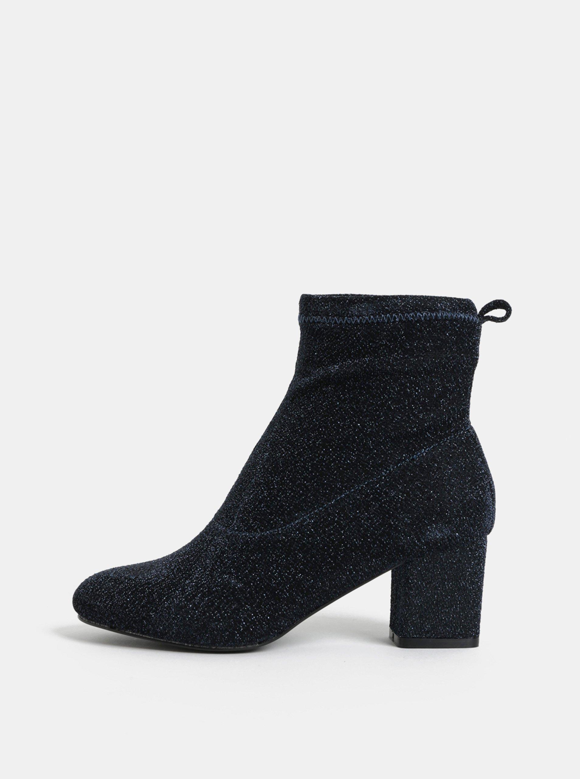 Tmavě modré třpytivé kotníkové boty na podpatku Pieces Donna