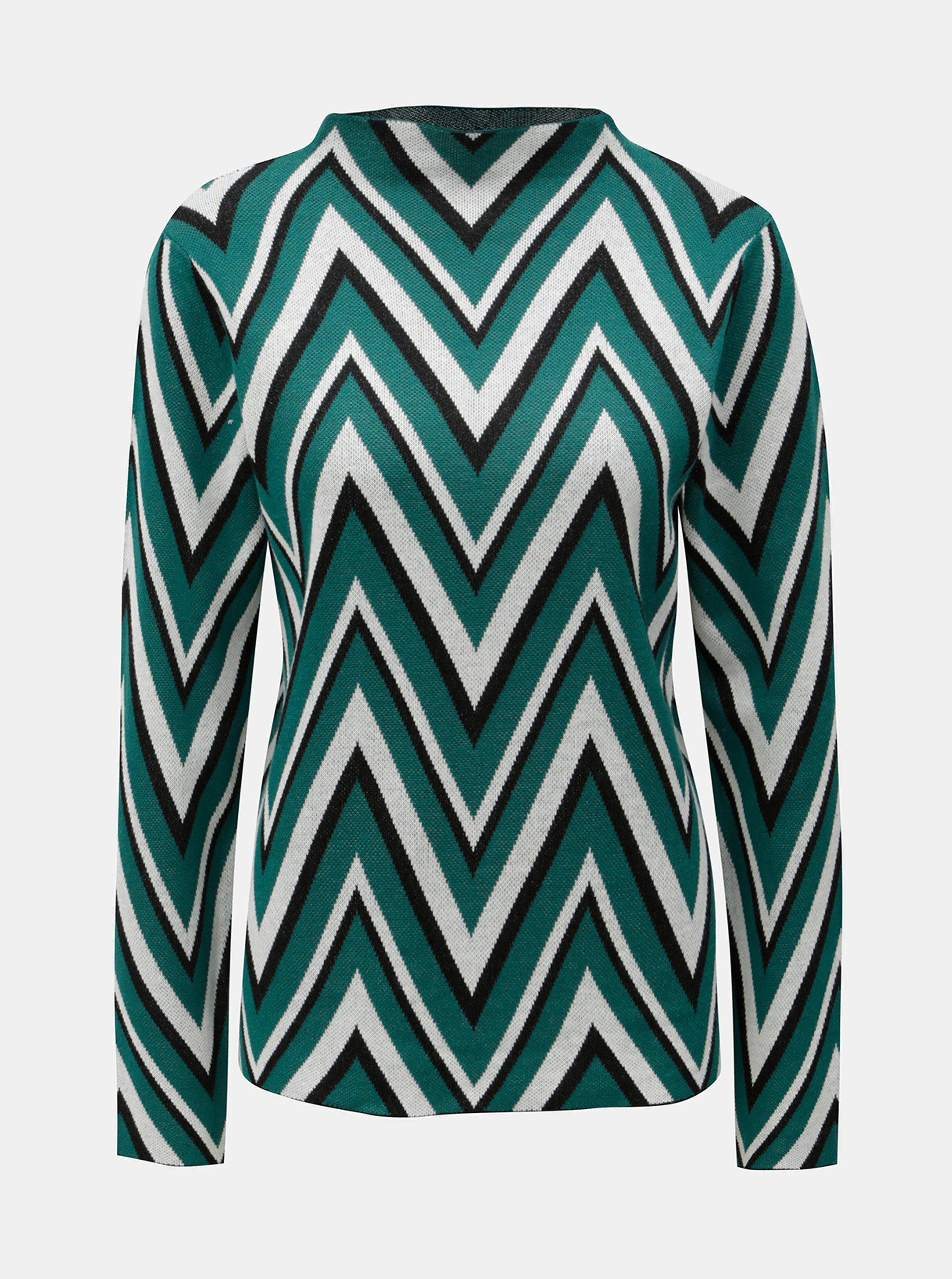Fotografie Krémovo-zelený lehký vzorovaný svetr VERO MODA