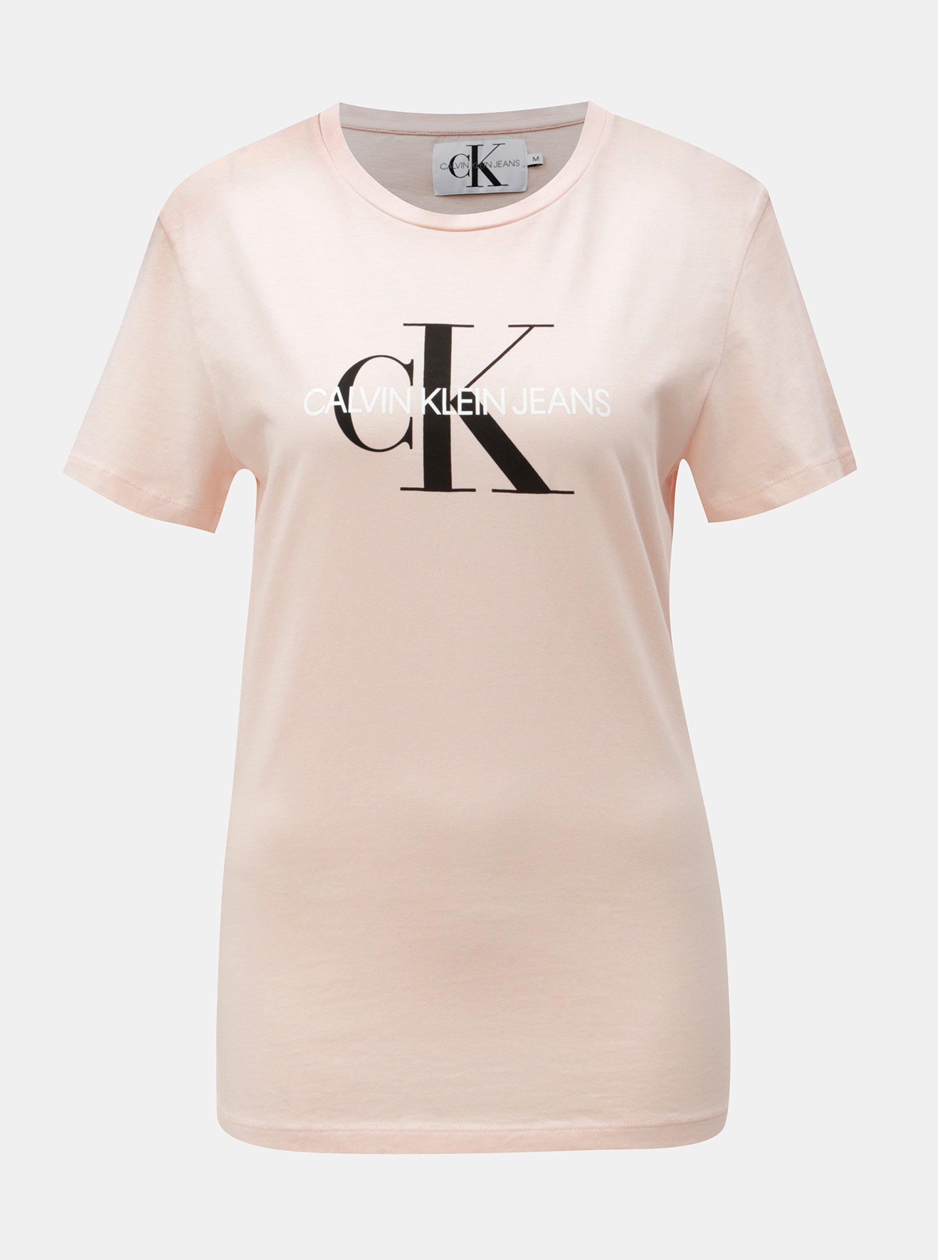 Fotografie Růžové dámské tričko s potiskem Calvin Klein Jeans