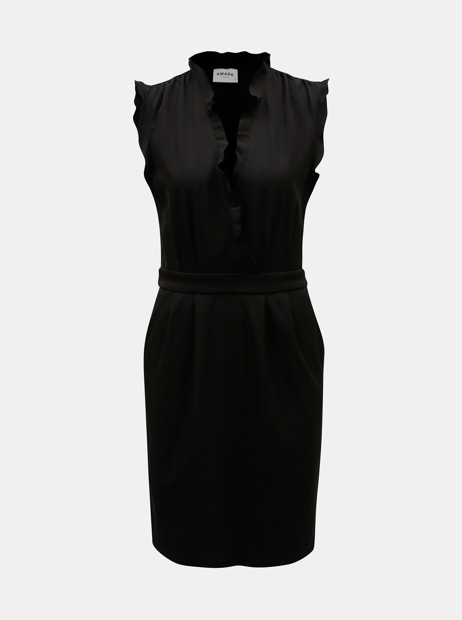 Čierne šaty s hlbokým prekladaným výstrihom VERO MODA