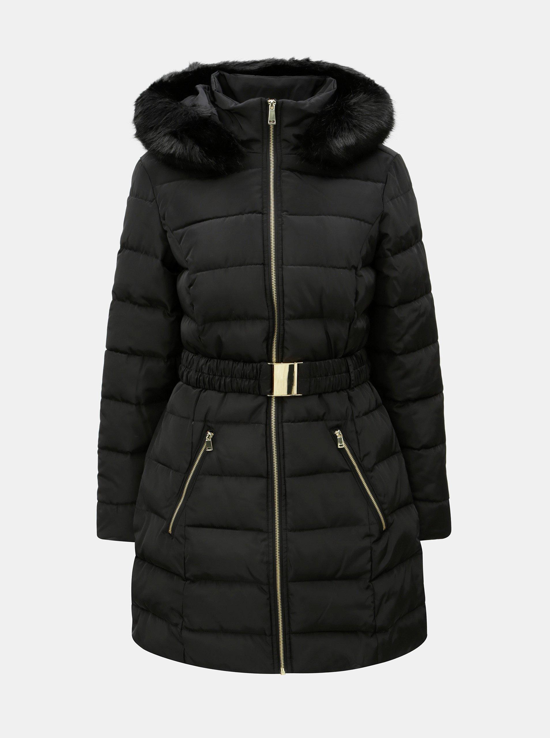 Černý zimní prošívaný kabát s odnímatelným páskem a umělou kožešinou  Dorothy Perkins 16bfa02dd9