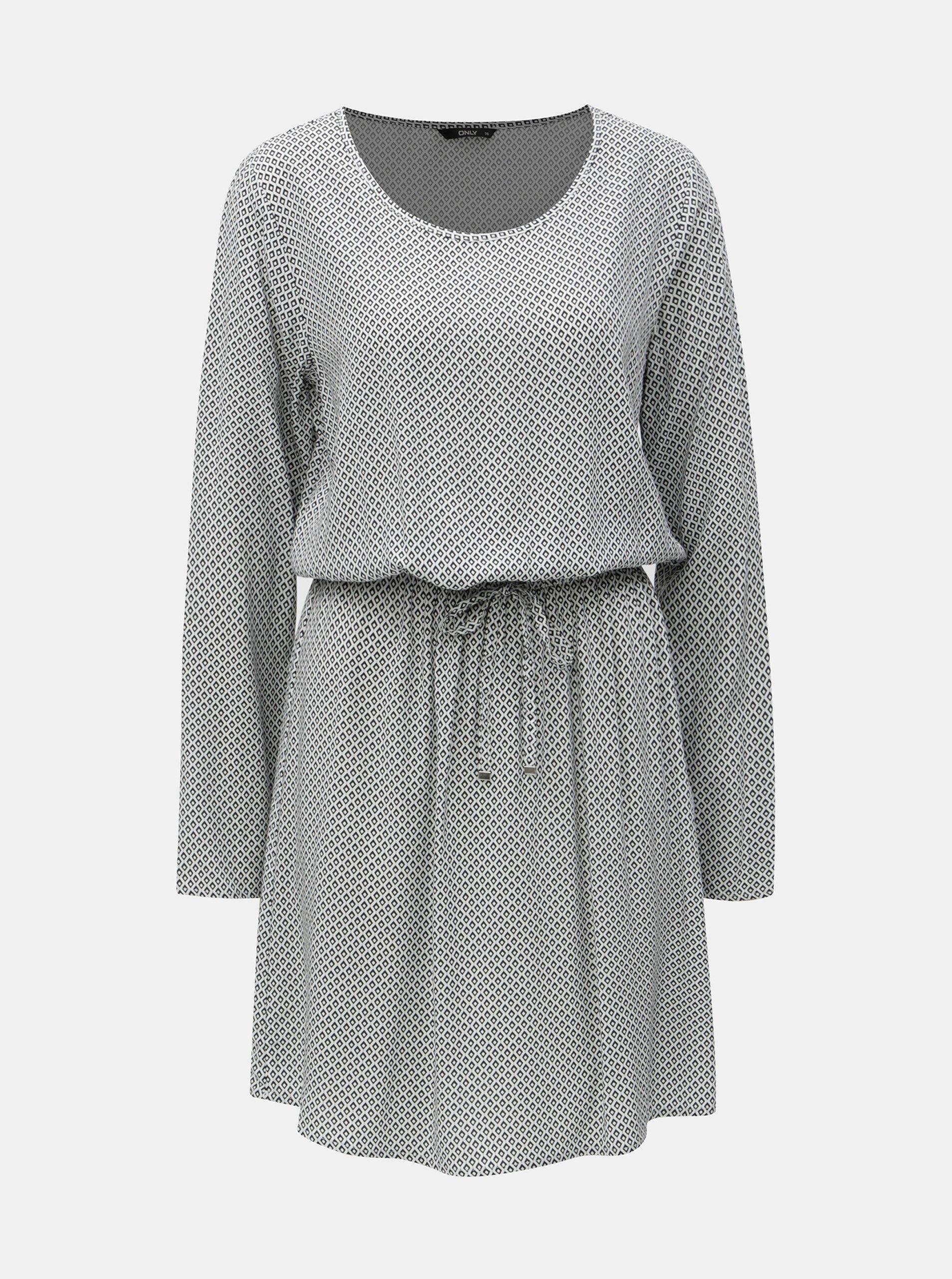 534f028efdbd Čierno-biele vzorované šaty so sťahovaním v páse ONLY